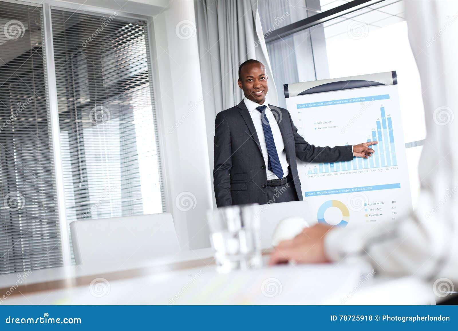 Säker ung affärsman som pekar in mot graf, medan ge presentation i regeringsställning
