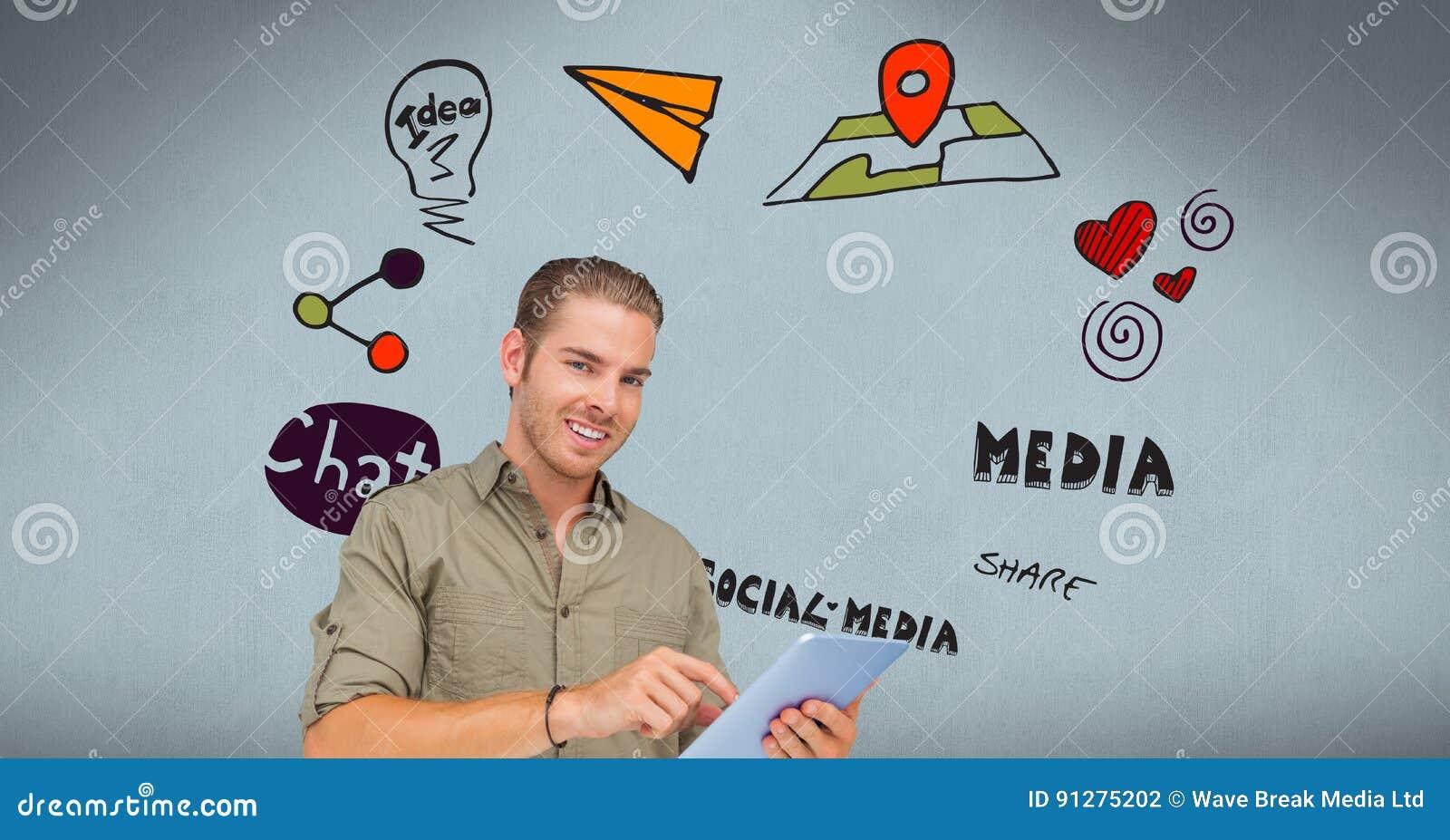 Säker ung man som använder minnestavlaPC med text och symboler i bakgrund