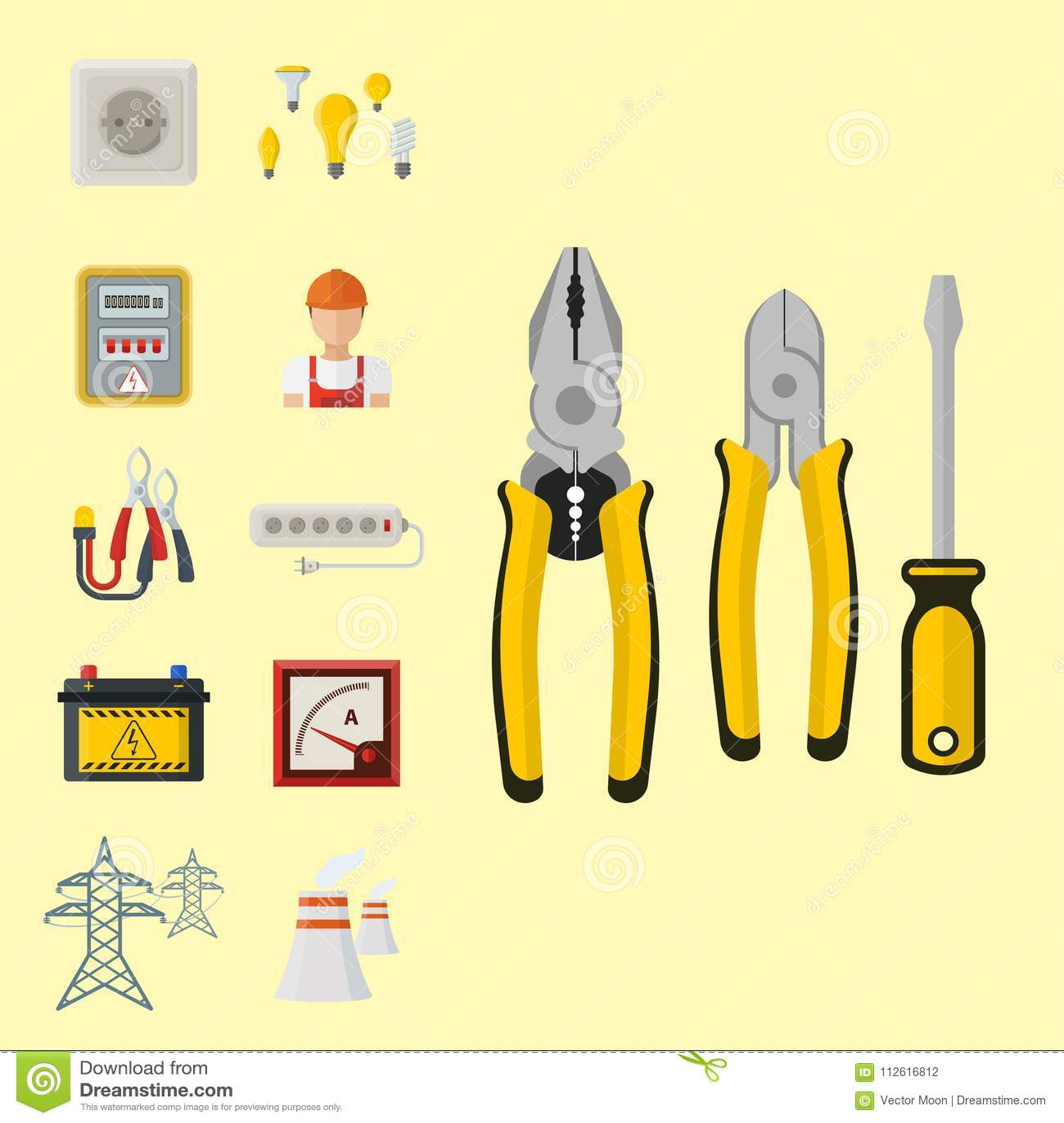 Säkerhet för fabrik för elektricitet för spänning för elektriker för illustration för batteri för symboler för makt för energiele