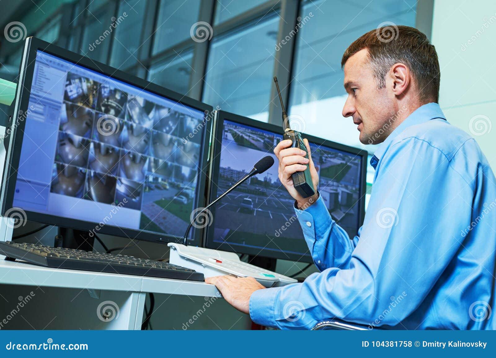 Säkerhetsarbetare under övervakning Videopn bevakningsystem