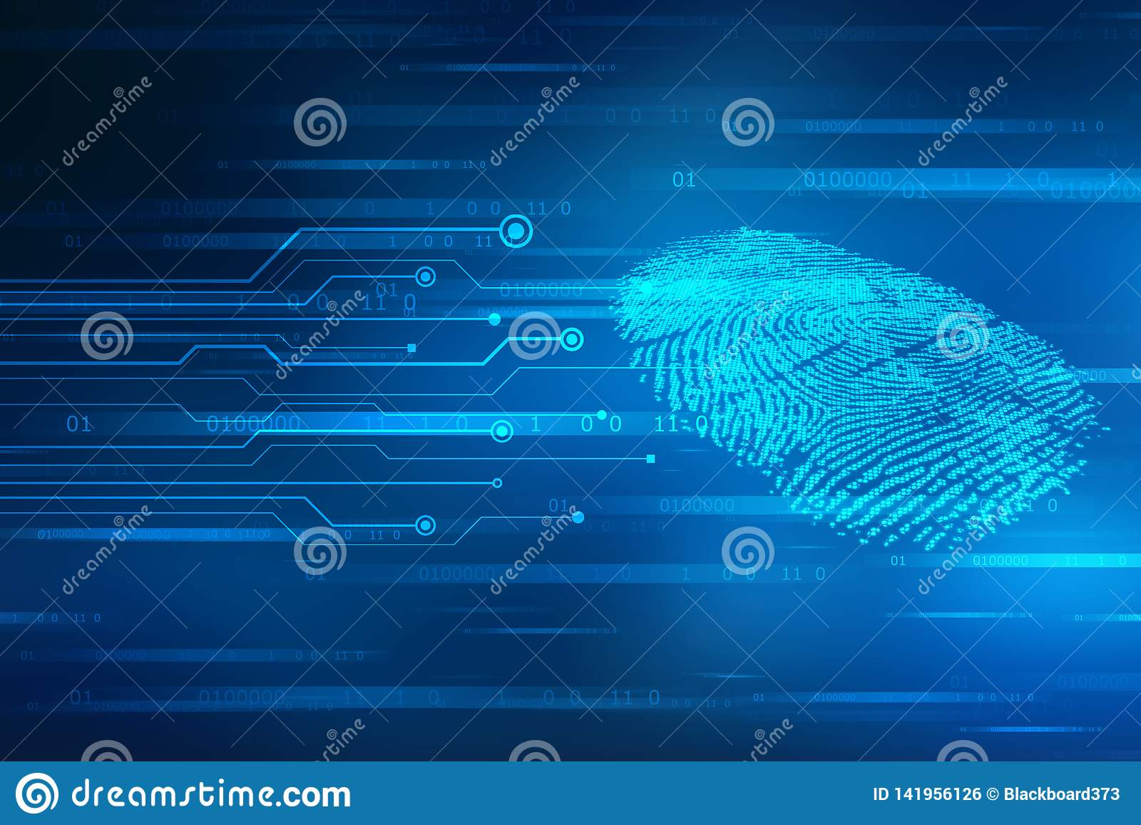 Säkerhetsbegrepp: fingeravtryckscanning på den digitala skärmen 2d illustration