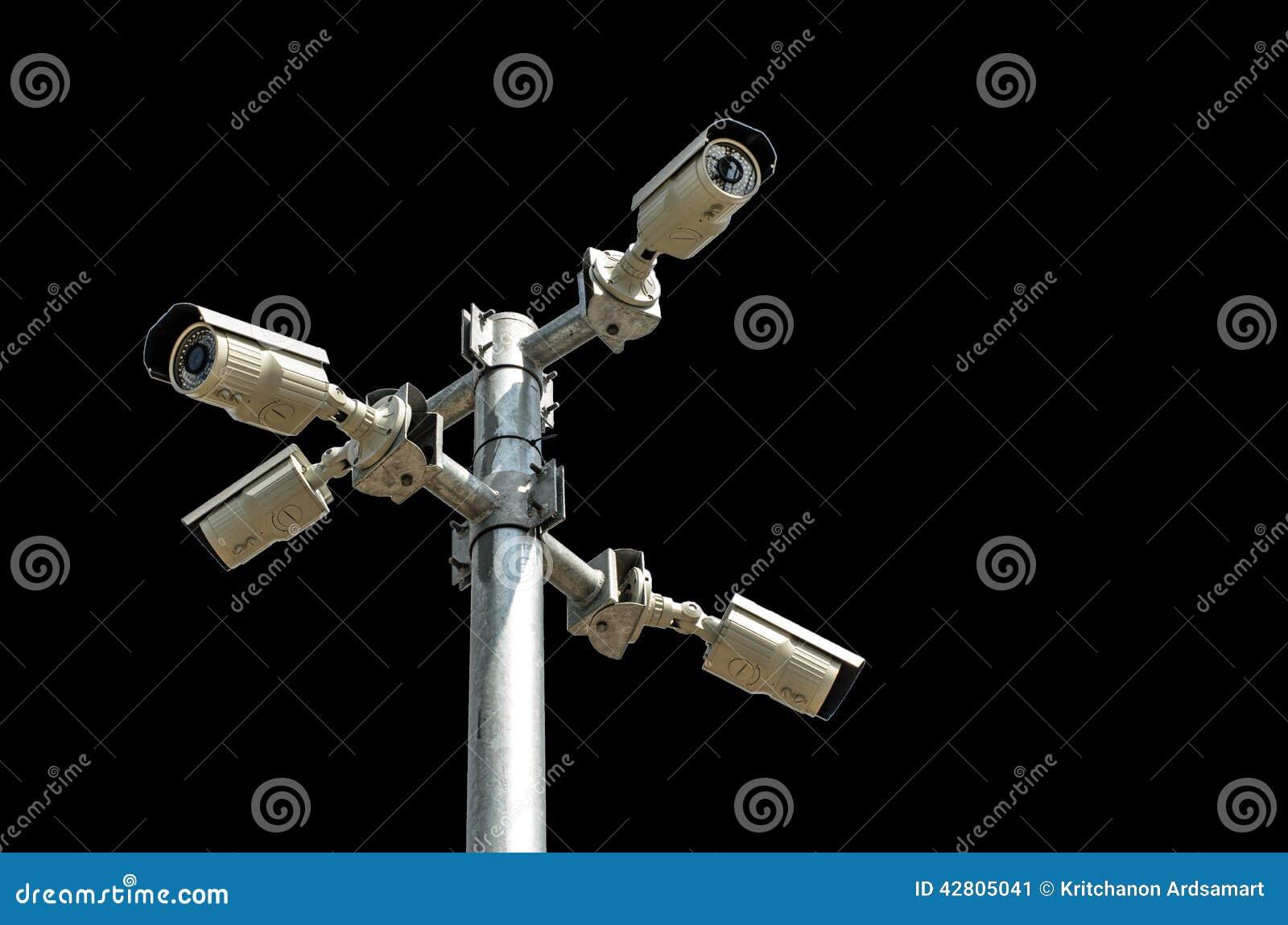 Säkerhetskamera som isoleras på svart bakgrund