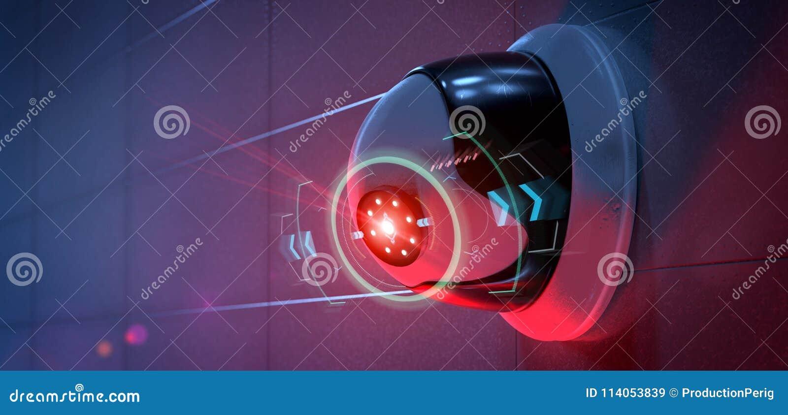 Säkerhetskamera som uppsätta som mål en avkänd inhopp - renderinga 3d