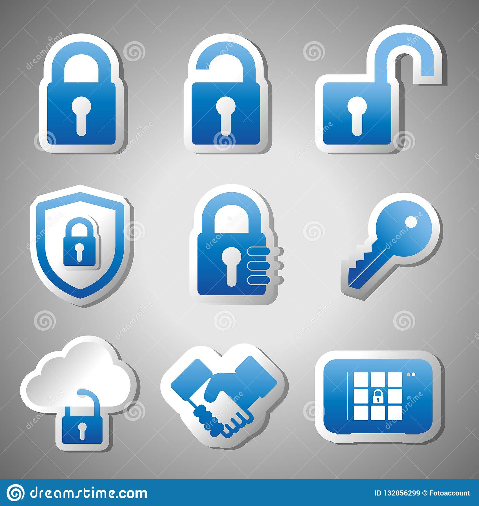 Säkerhetsklistermärkesymbolen ställde in - blåa vektorillustrationer - isolerat på Gray Gradient Background
