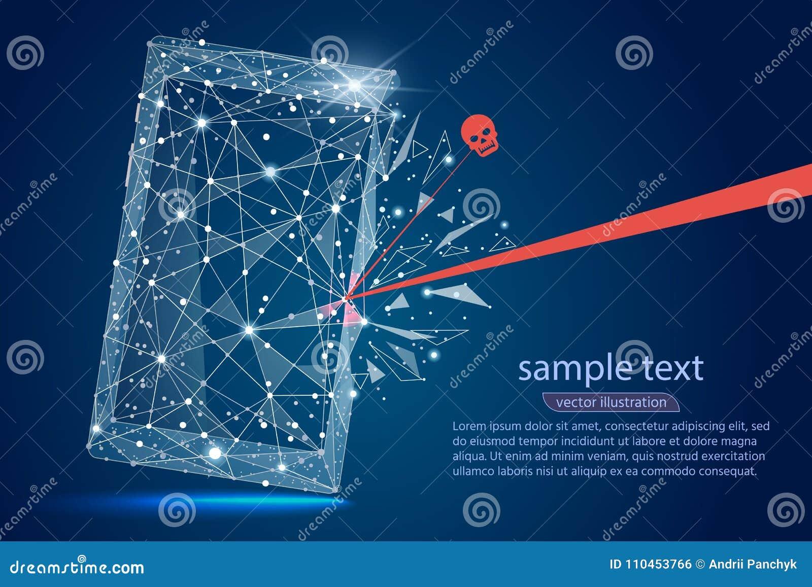 Säkerhetskränkning - Infographical begrepp Abstrakt design av mobiltelefonsmartphonen Grafisk design på temat av cyberen-Secur