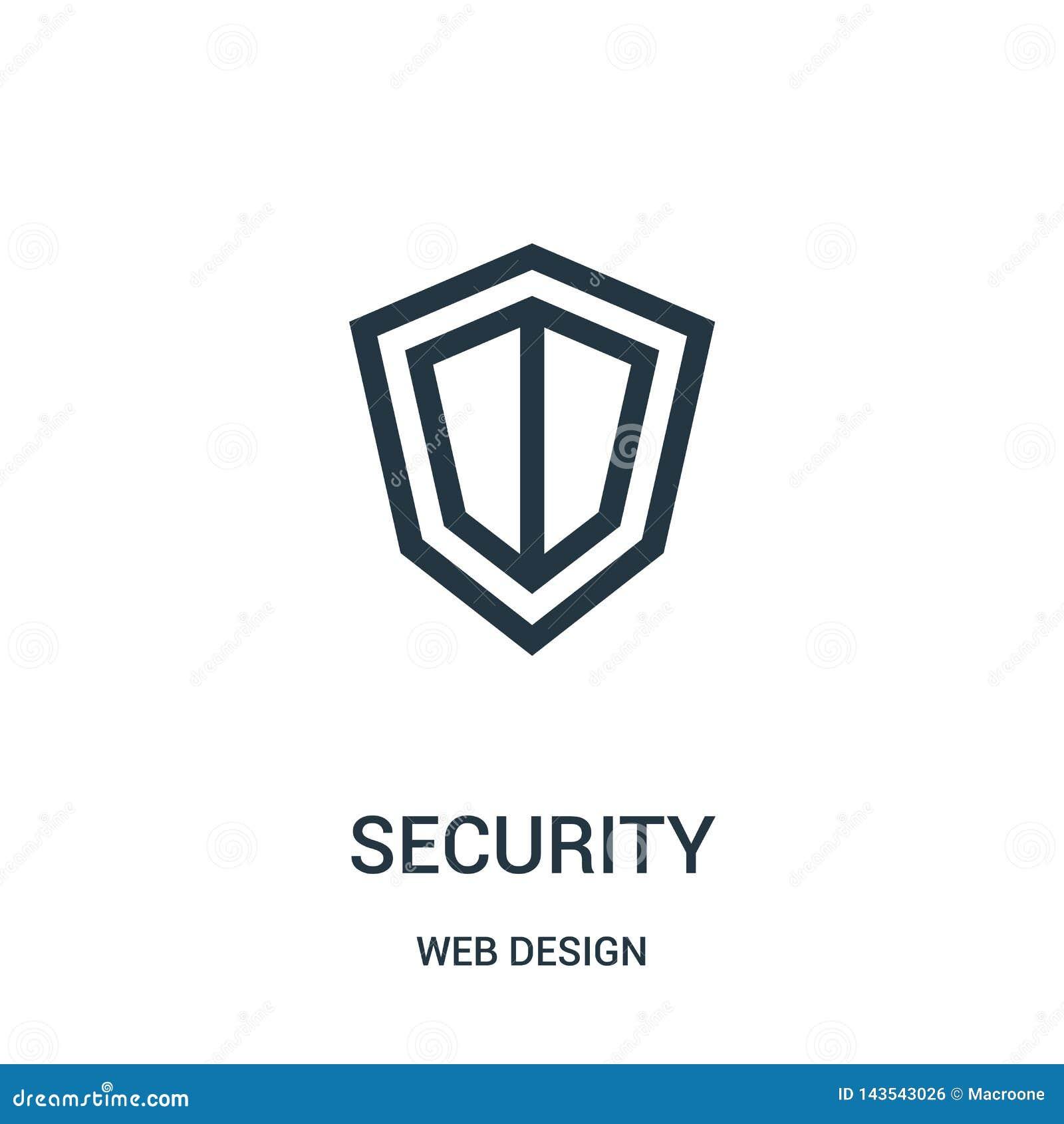 Säkerhetssymbolsvektor från samling för rengöringsdukdesign Tunn linje illustration för vektor för säkerhetsöversiktssymbol