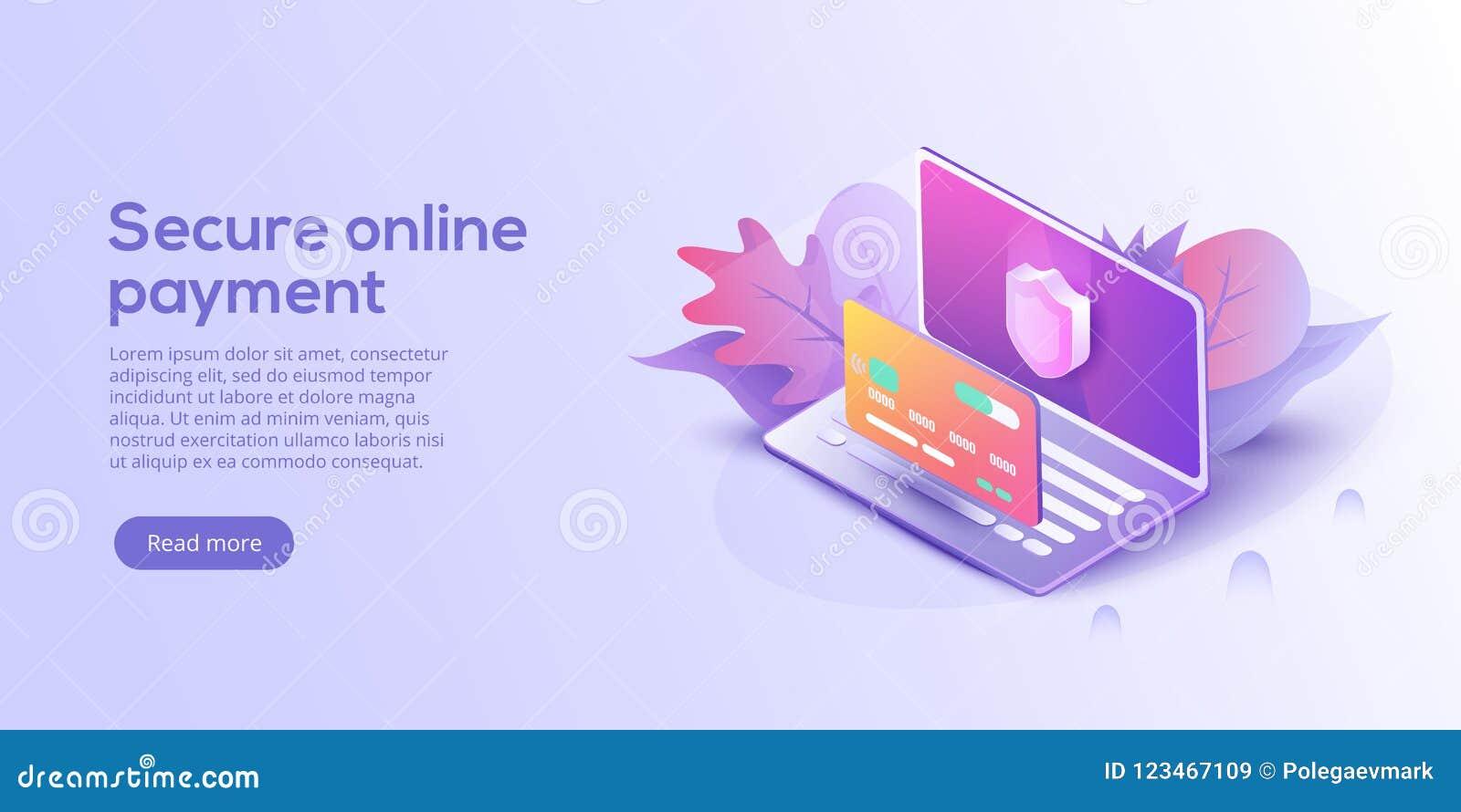 Säkra online-betalning för e-kommers isometrisk vektorillustrati