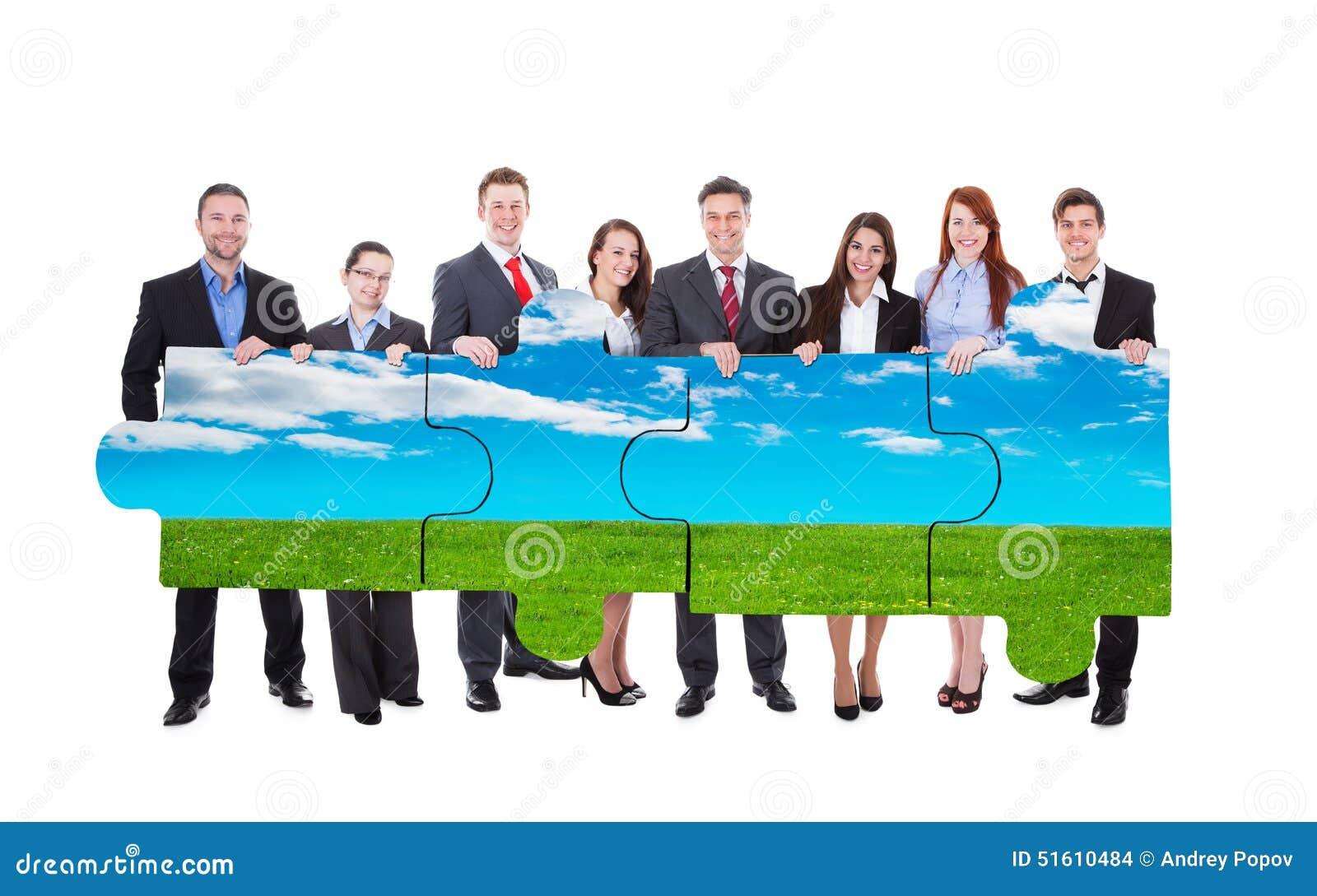 Säkra stycken för figursåg för natur för affärsfolk sammanfogande