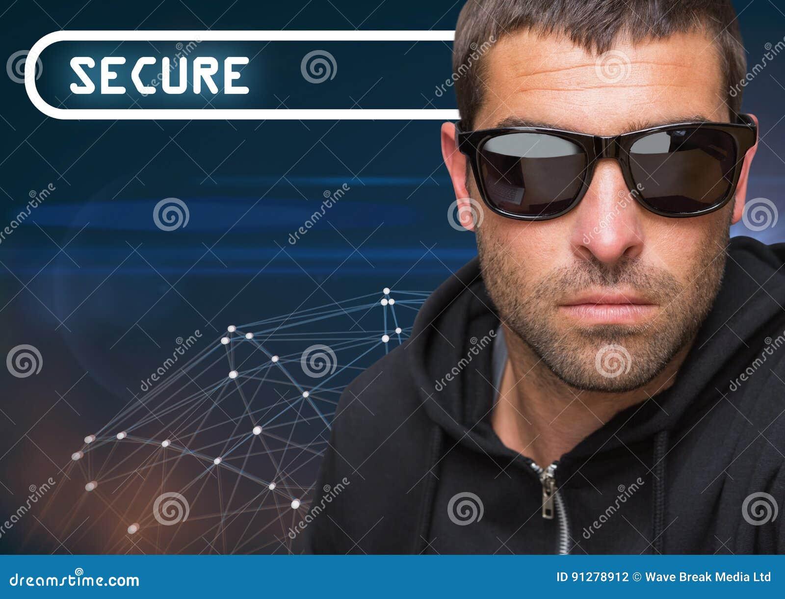 Säkra text med den kalla mannen i solglasögon