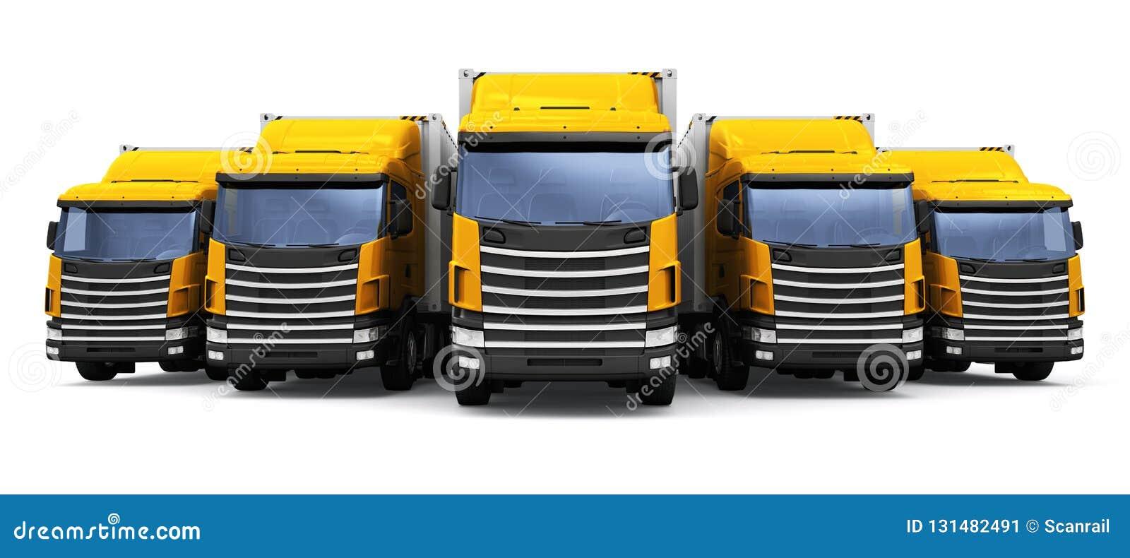 Sändning, logistik och kommersiellt begrepp för leveransaffär: 3D framför illustrationen av raden av gula lastsläprucks