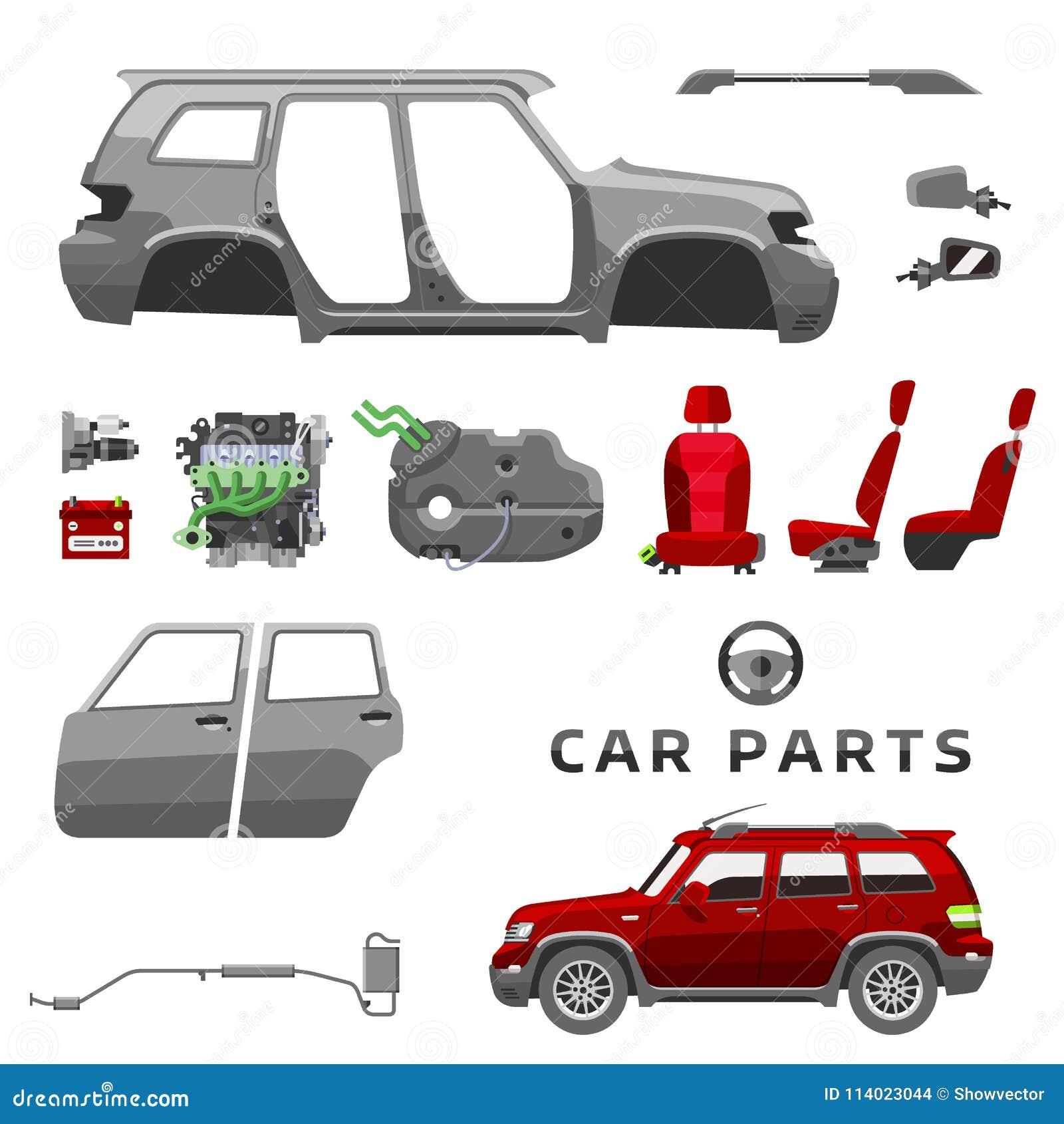 delar av bilen