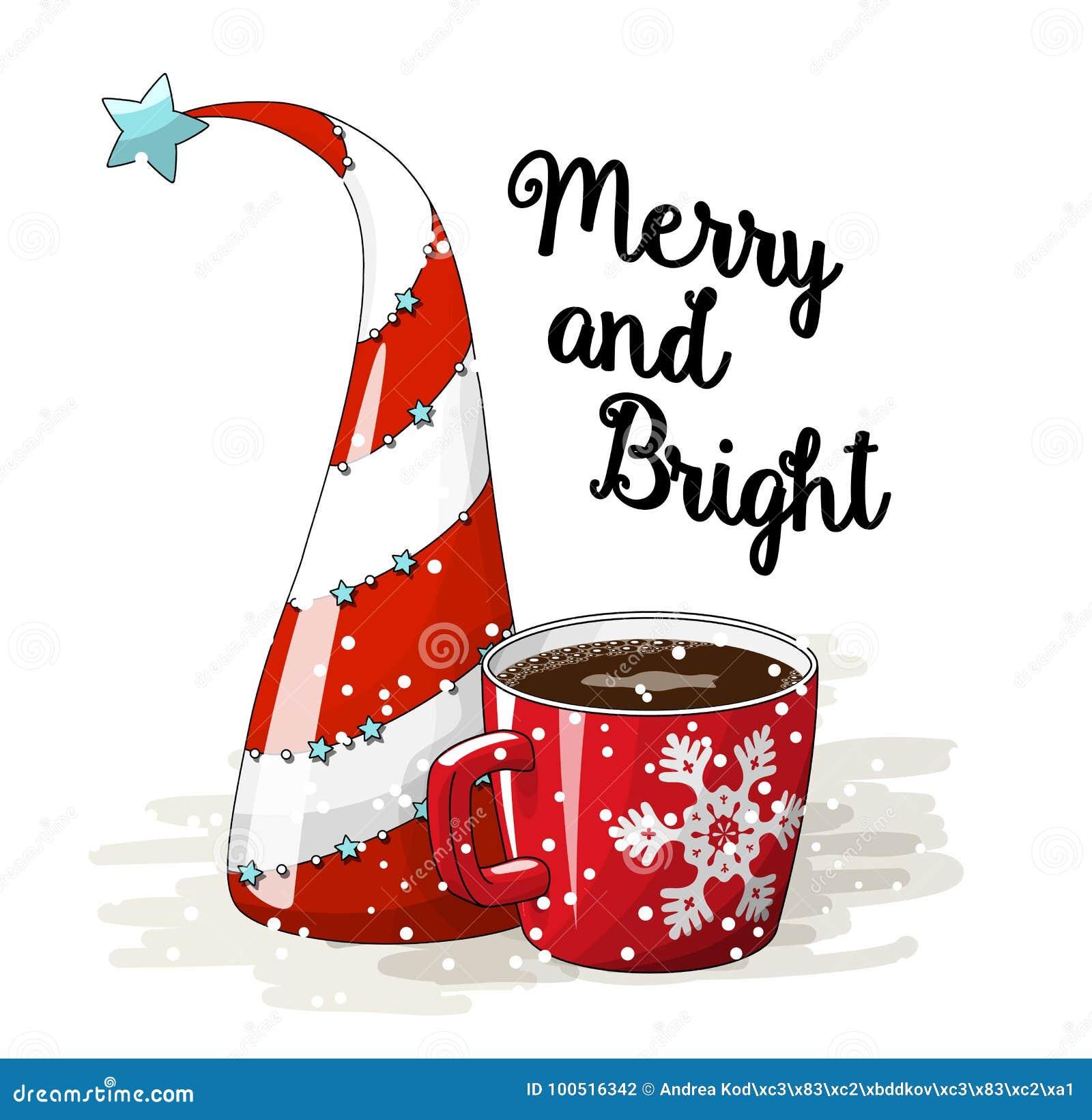 Säsongsbetonad bevekelsegrund, abstrakt julträd röd ljusa kopp kaffe och text som är glade och, vektorillustration