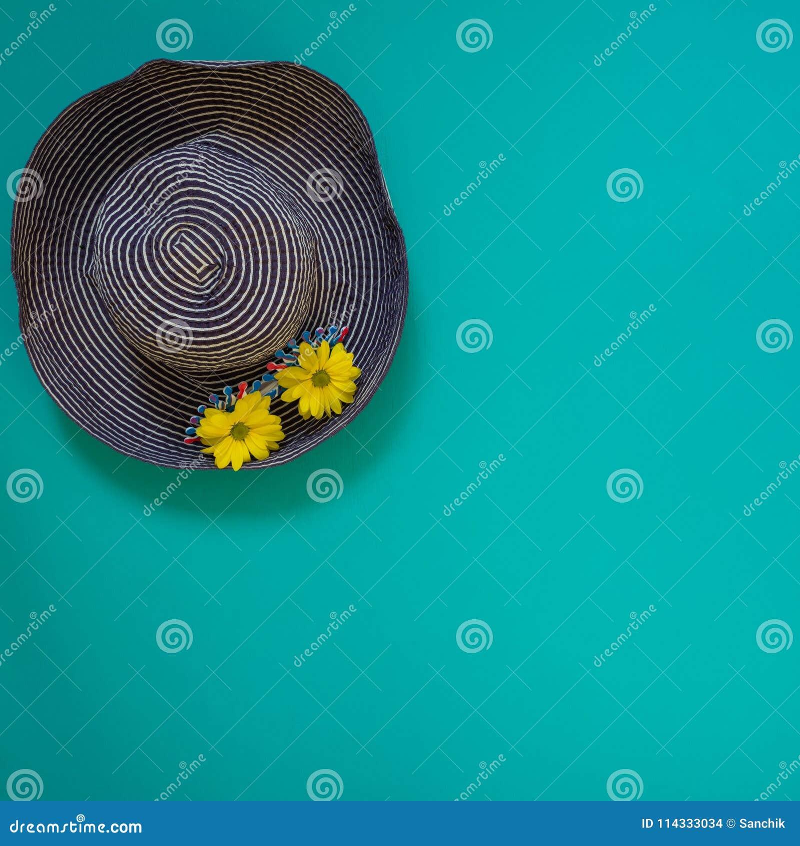 Sätta på land den blåa hatten som dekoreras med rolig solglasögon och, gulna blomman