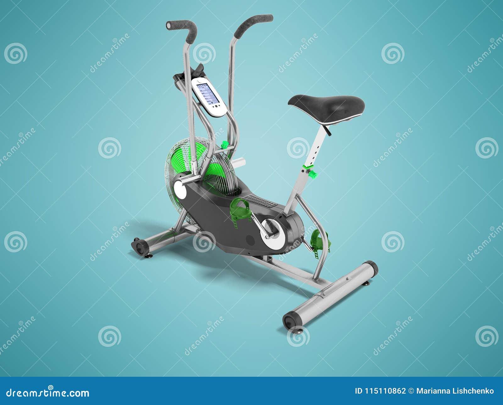 Sätter in grönt metalliskt för motionscykel med gräsplan det beträffande perspektivet 3d