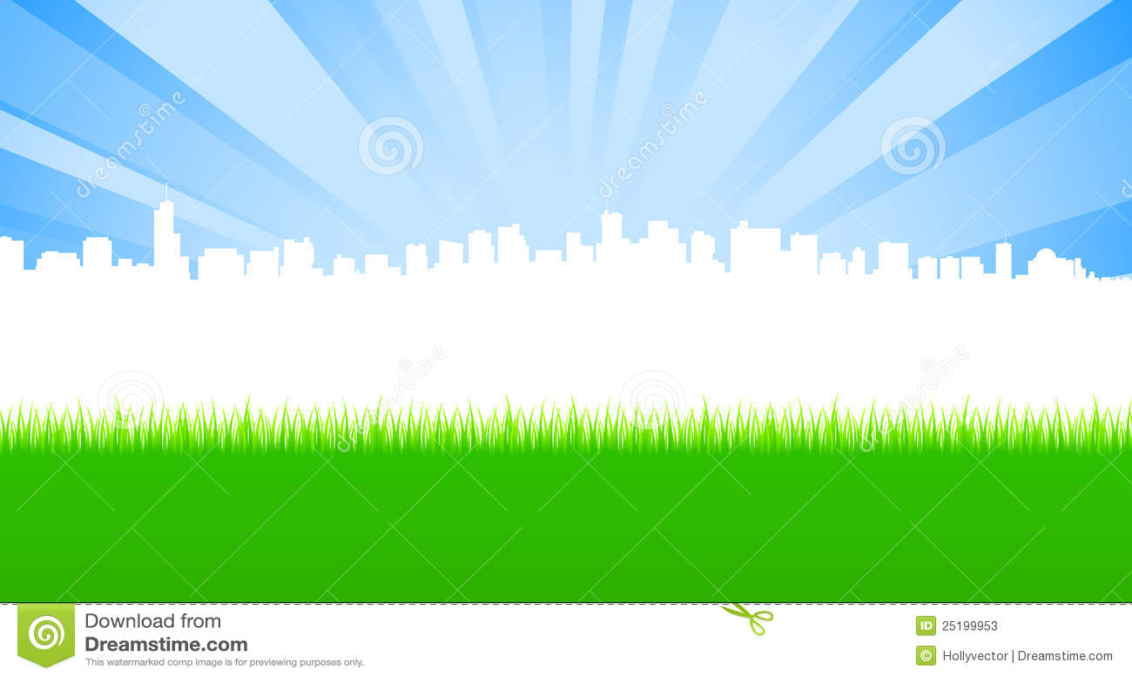 Säubern Sie Stadt und grüne Wiese