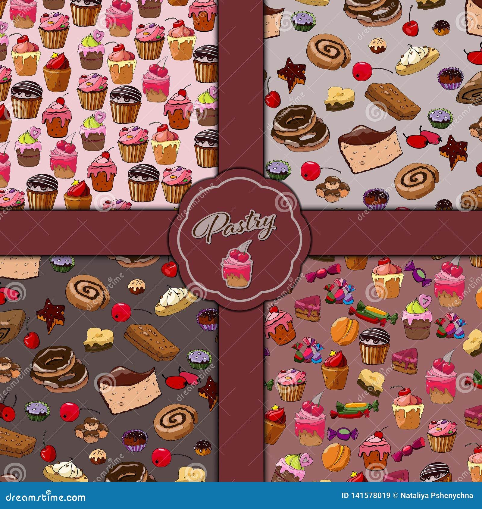 Słodkich ciast bezszwowy wzór