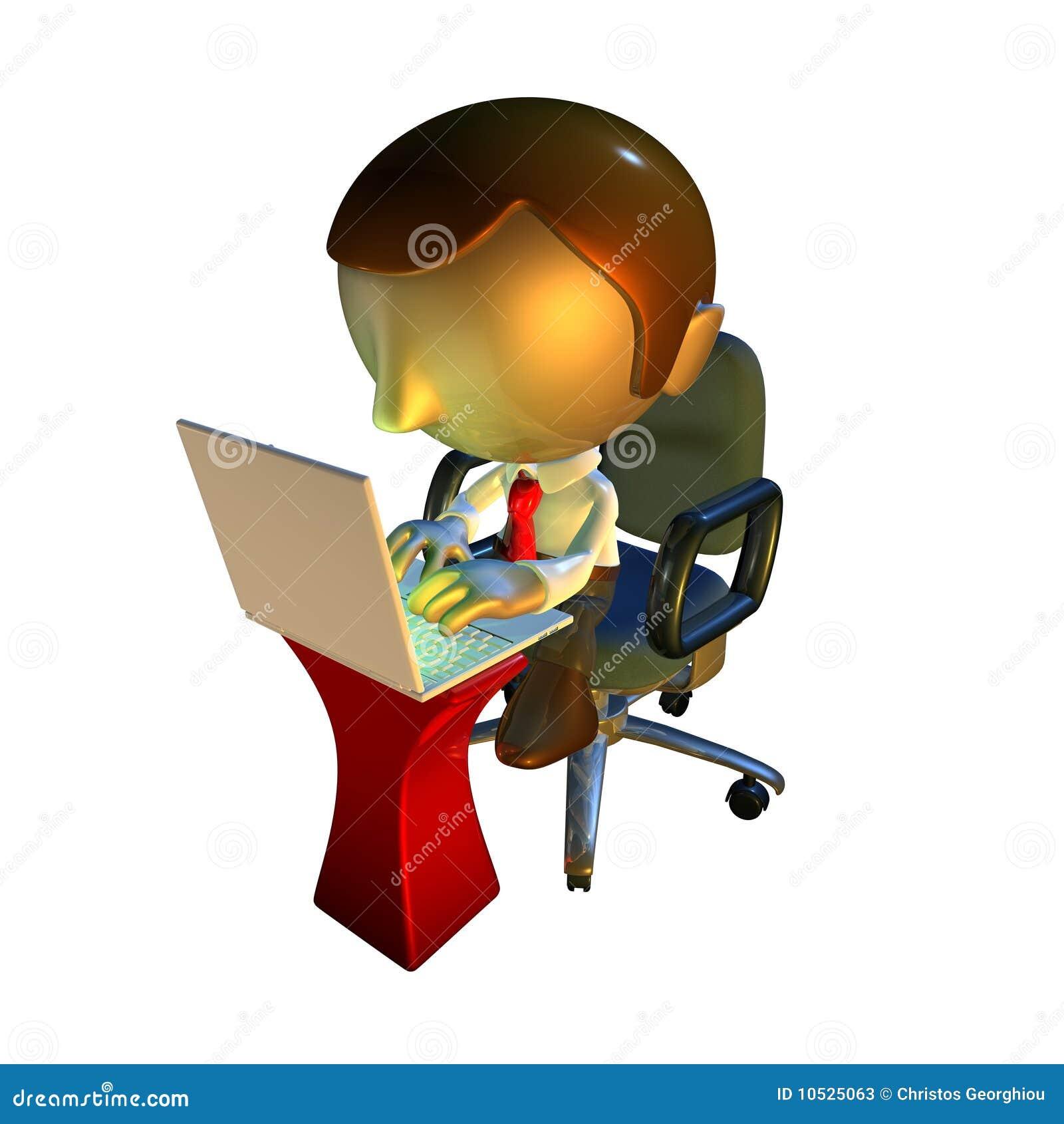 Séance d homme d ordinateur portatif de caractère des affaires 3d