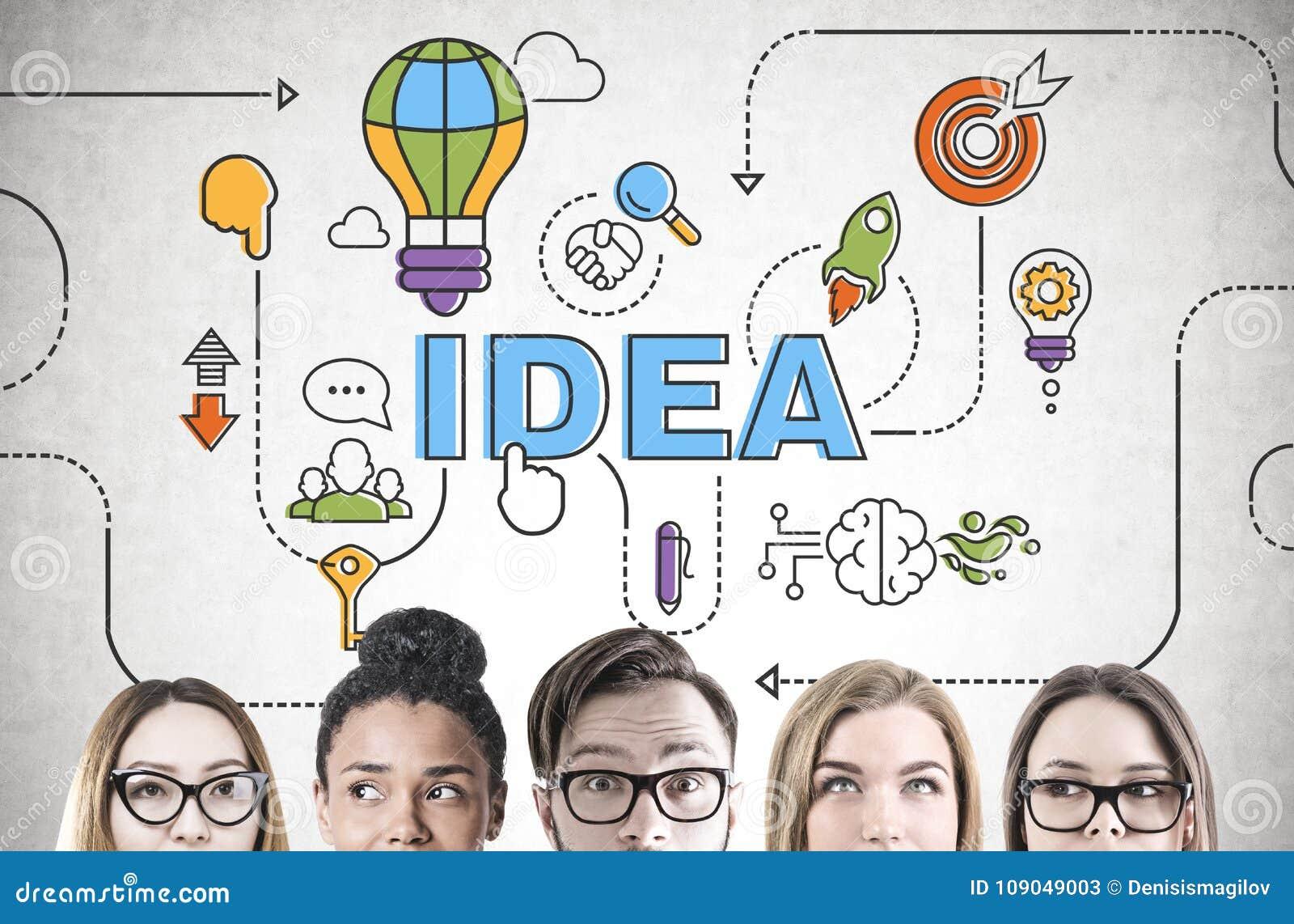 Séance de réflexion diverse d équipe d affaires, tête, idée