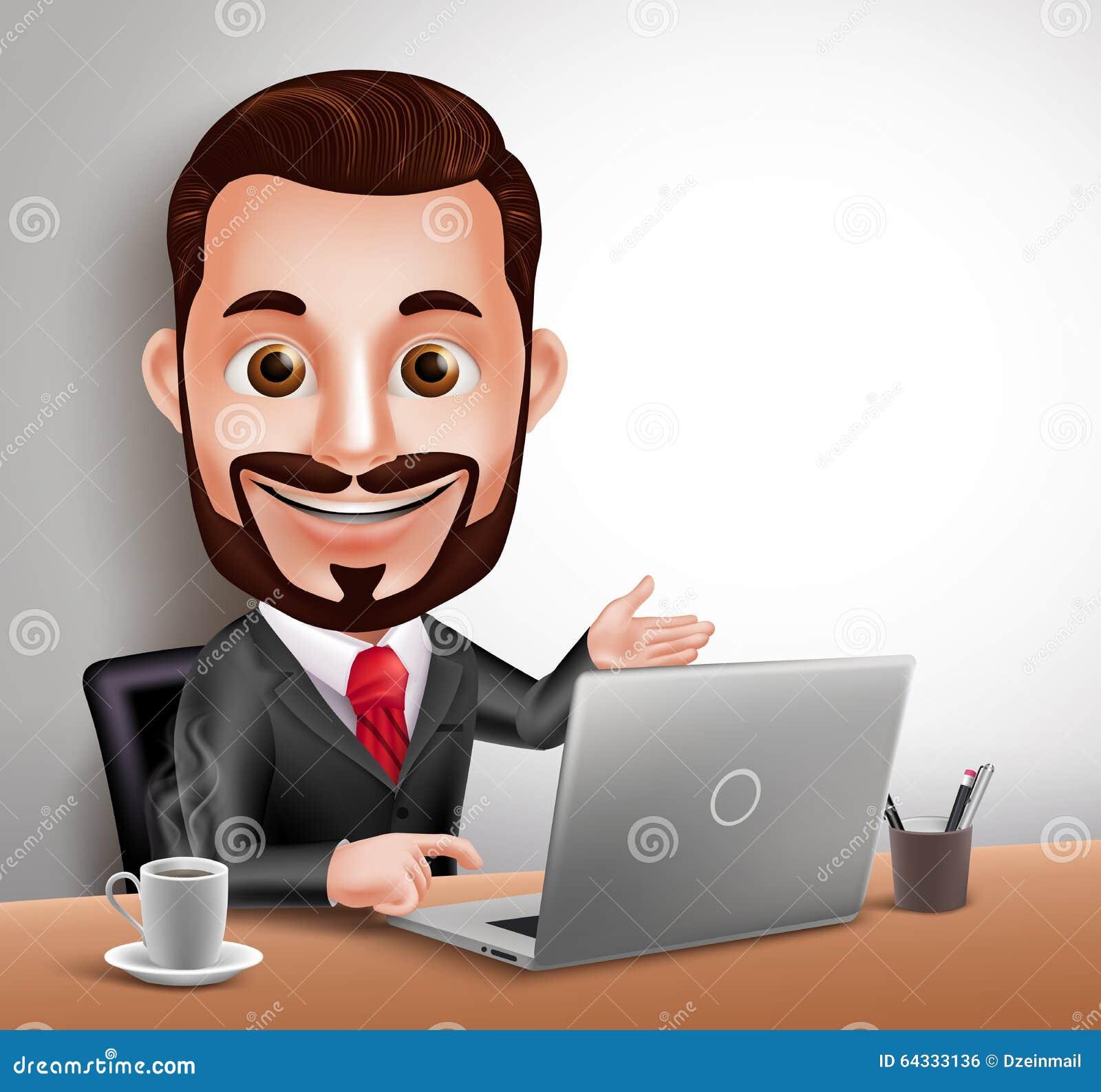 Séance heureuse et fonctionnement d affaires d homme de caractère professionnel de vecteur dans le bureau