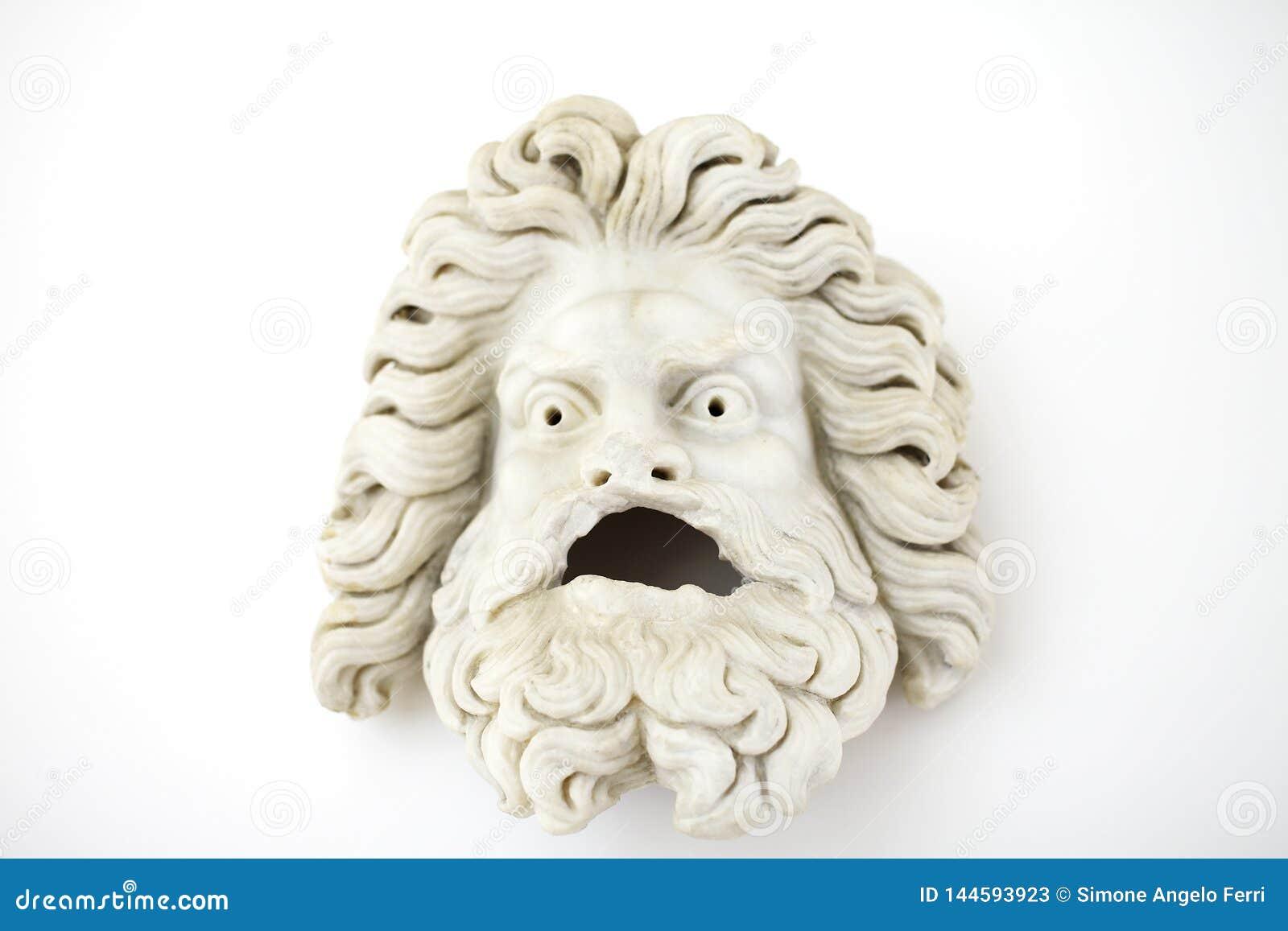 Século I teatral masculino A da máscara d Escultura grega romana clássica