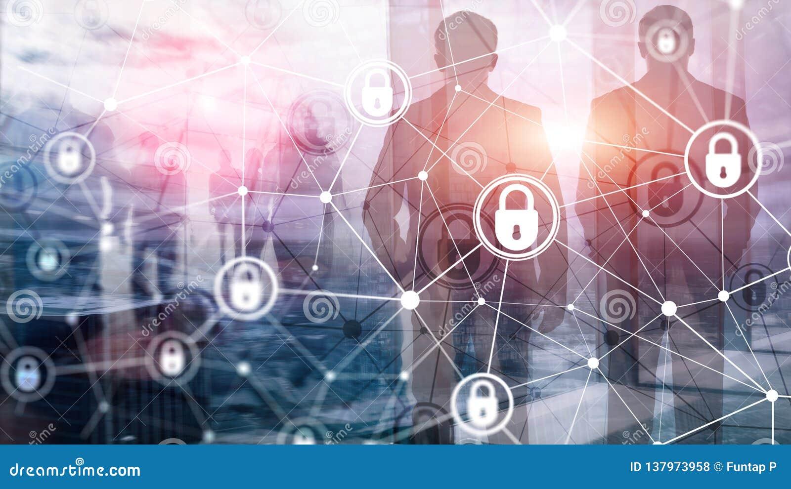 Sécurité de Cyber, intimité de l information, concept de protection des données sur le fond moderne de pièce de serveur Internet