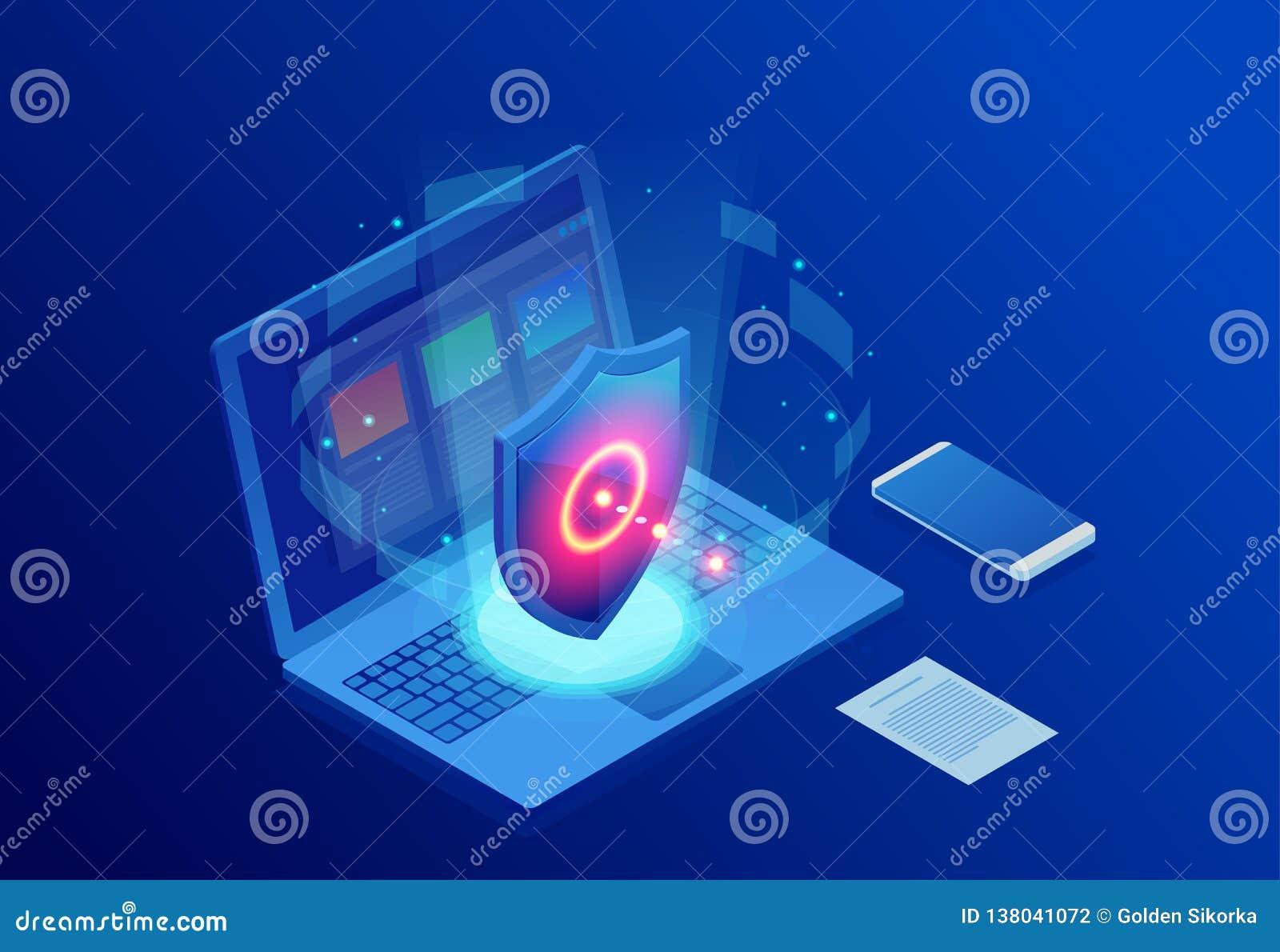 Sécurité de réseau de protection et sûr isométriques votre concept de données Calibres Cybersecurity de conception de page Web Cr