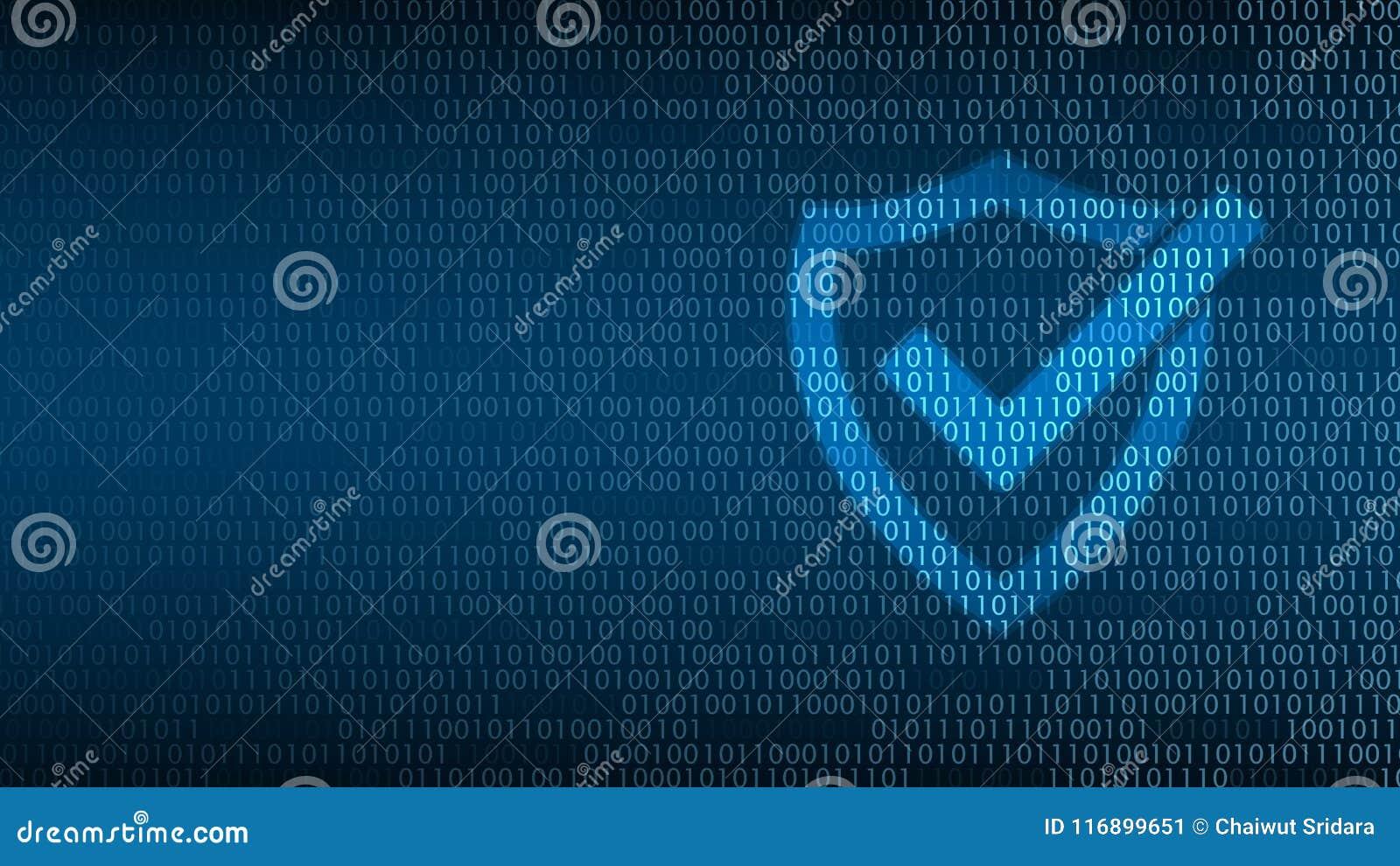 Sécurité de technologie de Cyber, bouclier sur l écran numérique