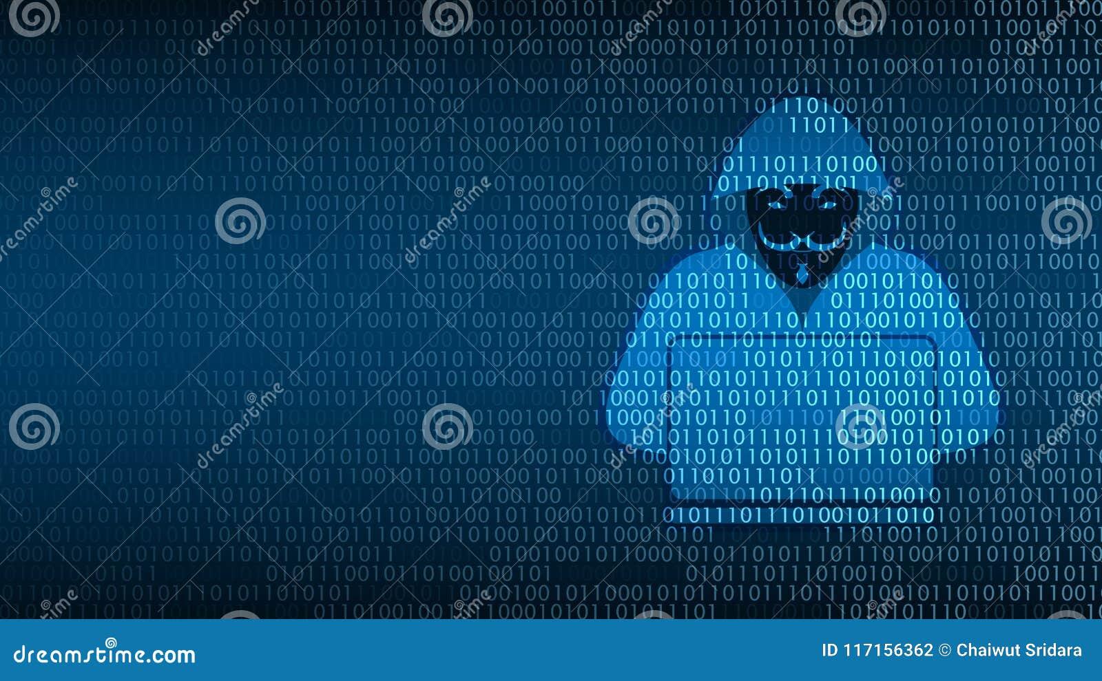 Sécurité de technologie de Cyber, pirate informatique sur l écran numérique