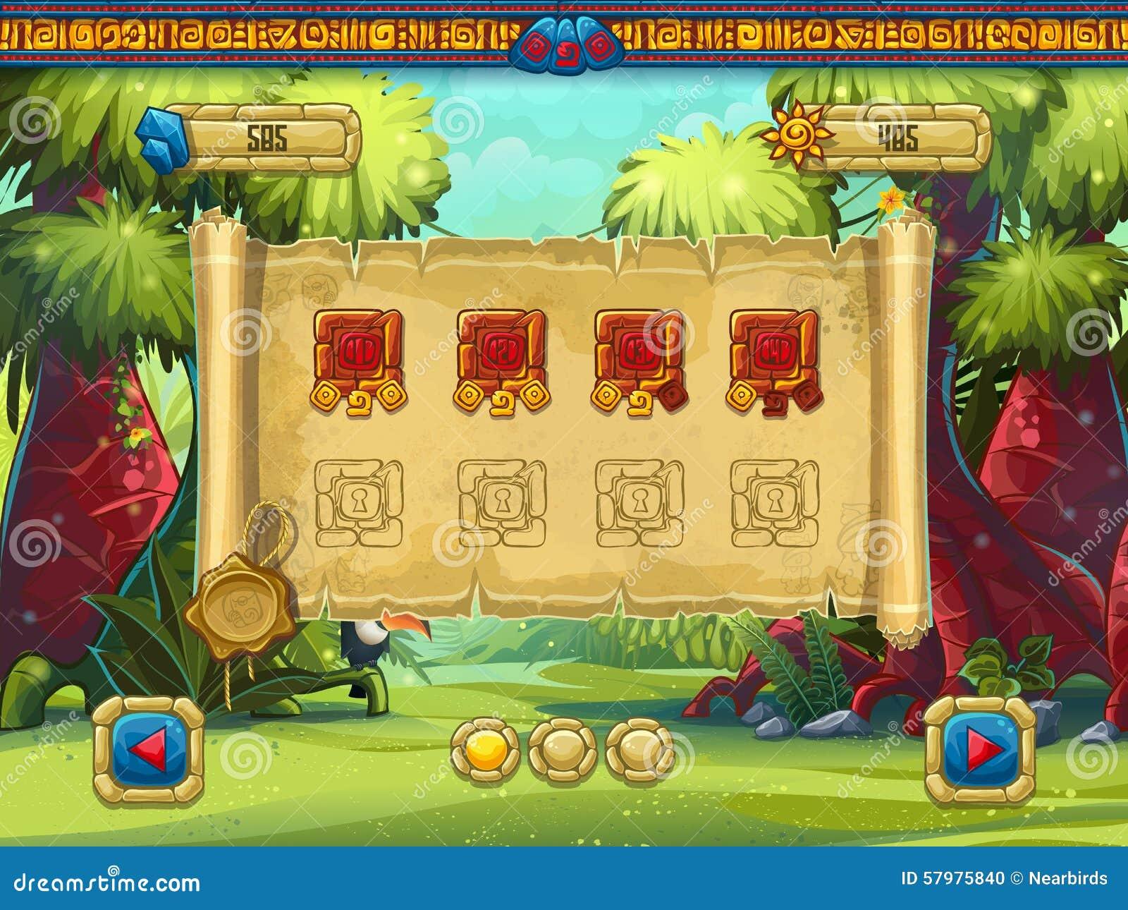 Sélection de niveau d illustration pour des trésors d une jungle de jeu d ordinateur