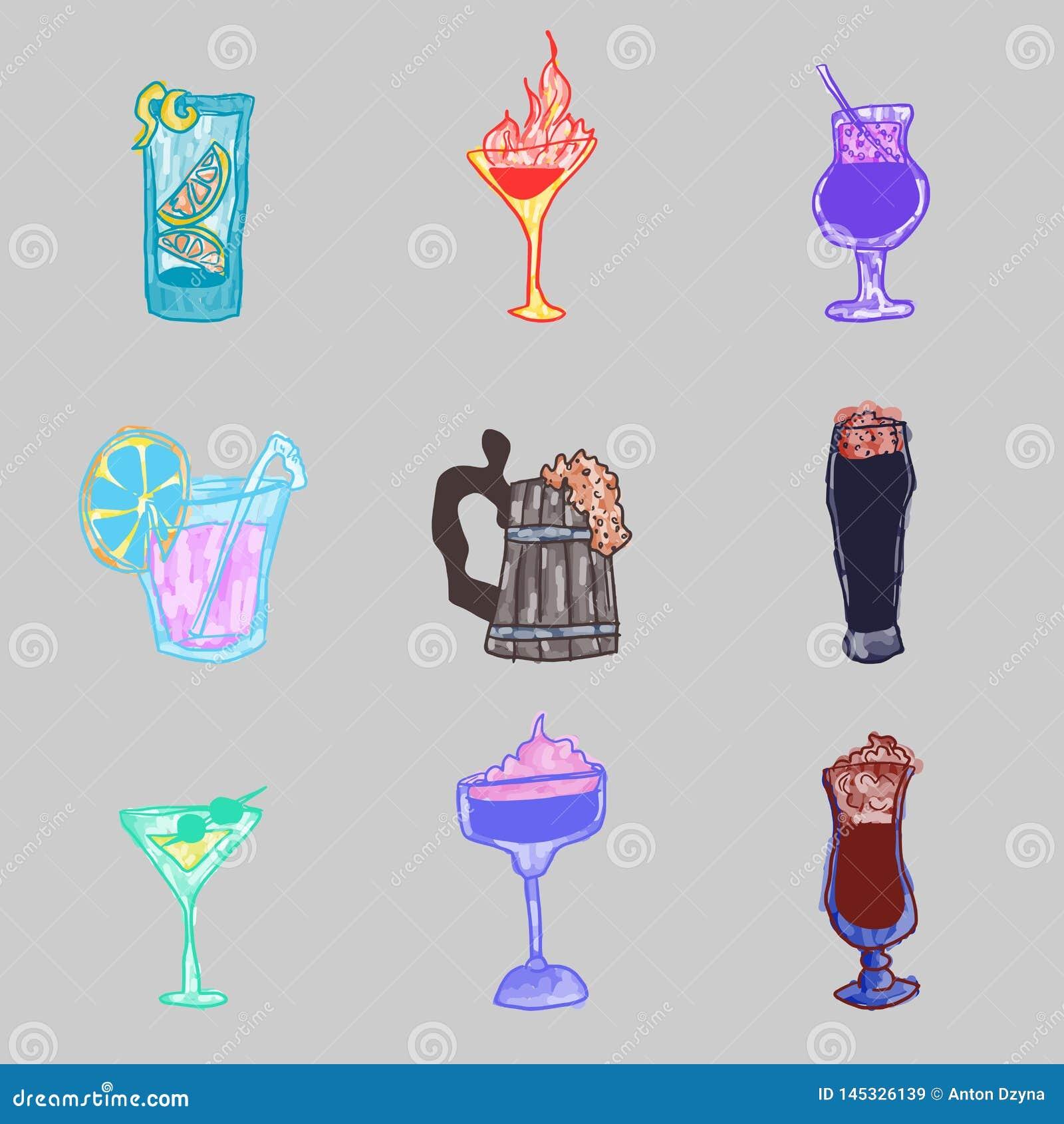Sélection des griffonnages lumineux d alcool sur un fond foncé