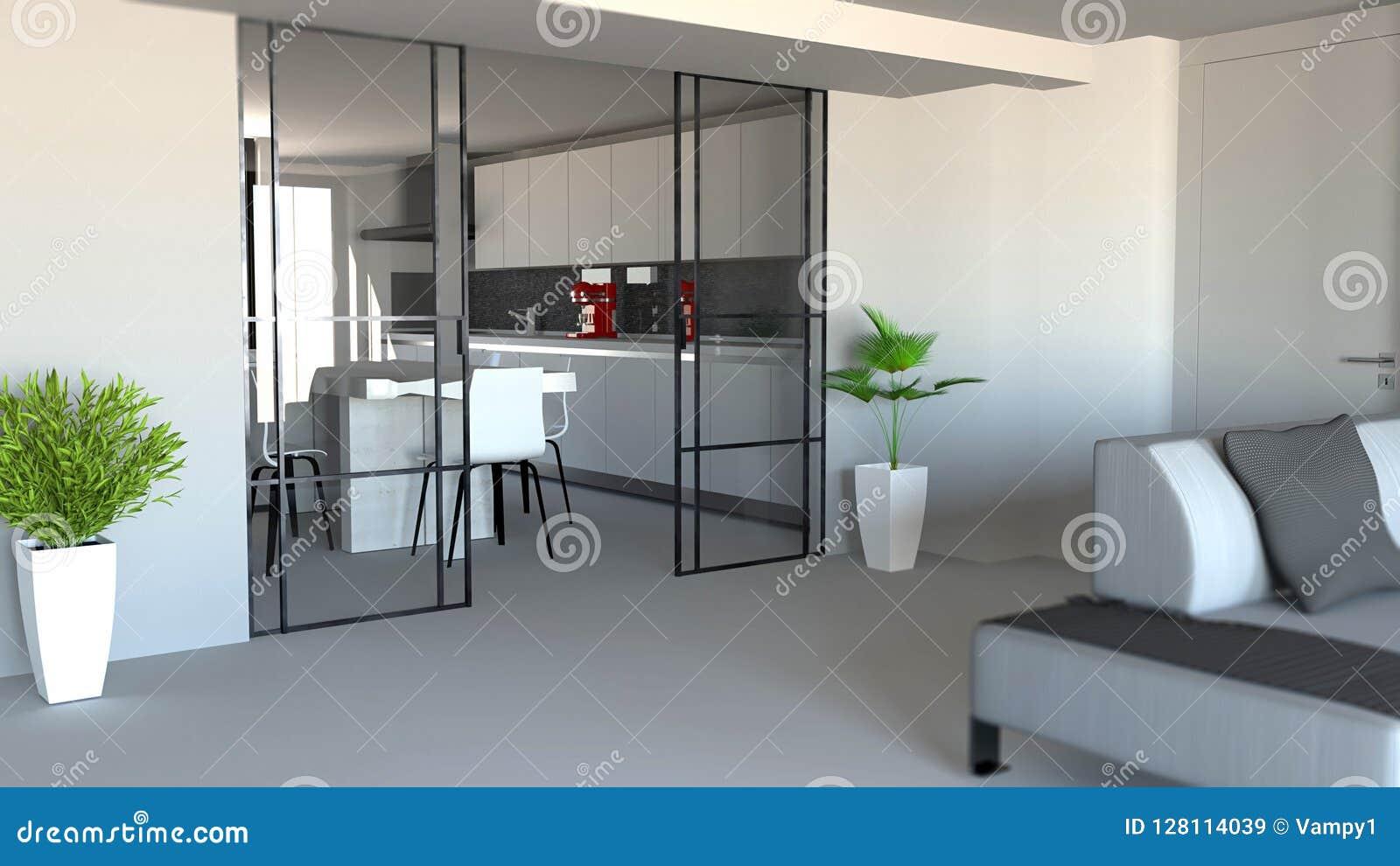 Salon Cuisine Style Industriel séparation de porte coulissante, de salon et de cuisine