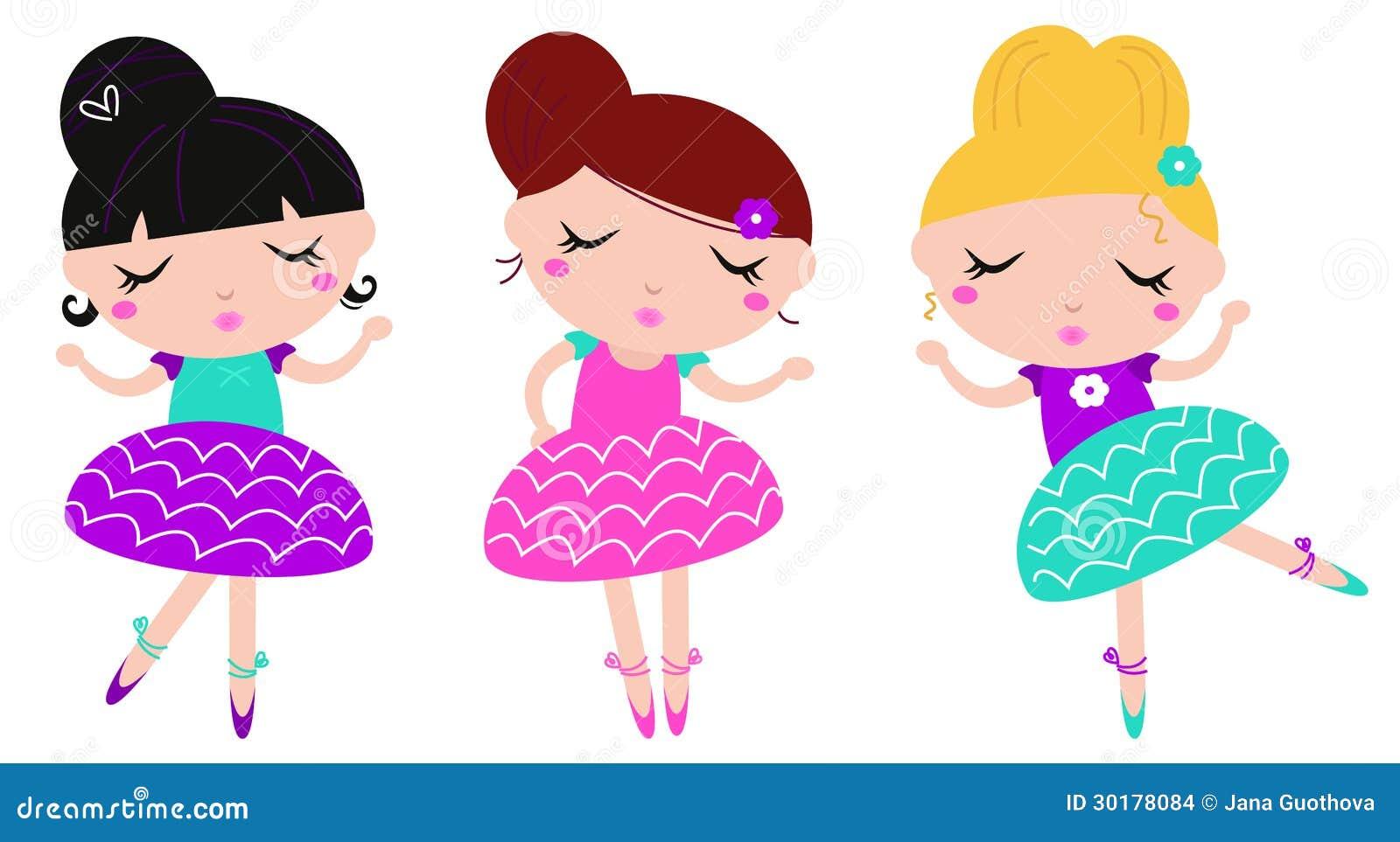 meninas pequenas bonitos da bailarina da dança ajustadas ilustração