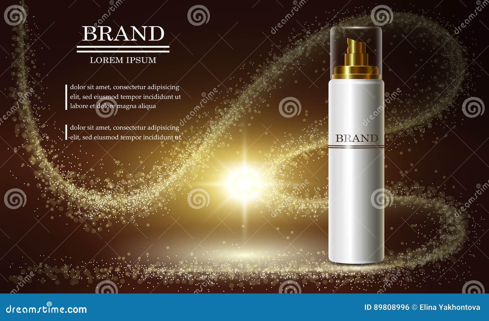 Série da beleza dos cosméticos, anúncios do creme superior do pulverizador para cuidados com a pele Molde para bandeiras do proje
