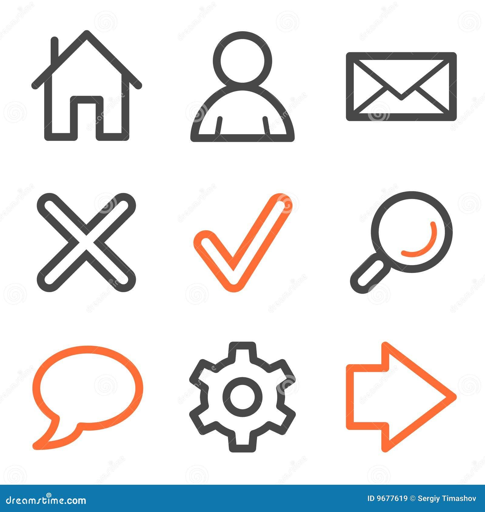 Série de graphismes de Web, orange et grise fondamentale de forme