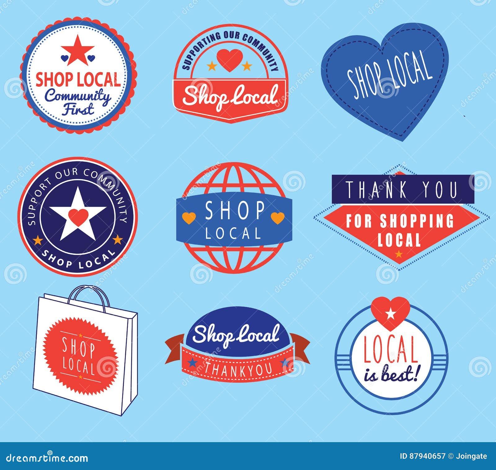 Série de logotipos retros do vintage baseados no tema do local da loja