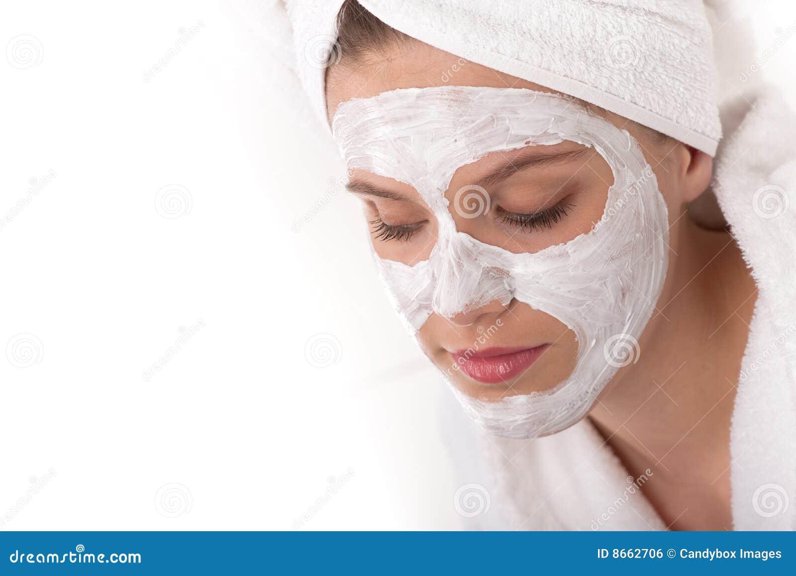 Série de soin de fuselage - femme avec le masque facial