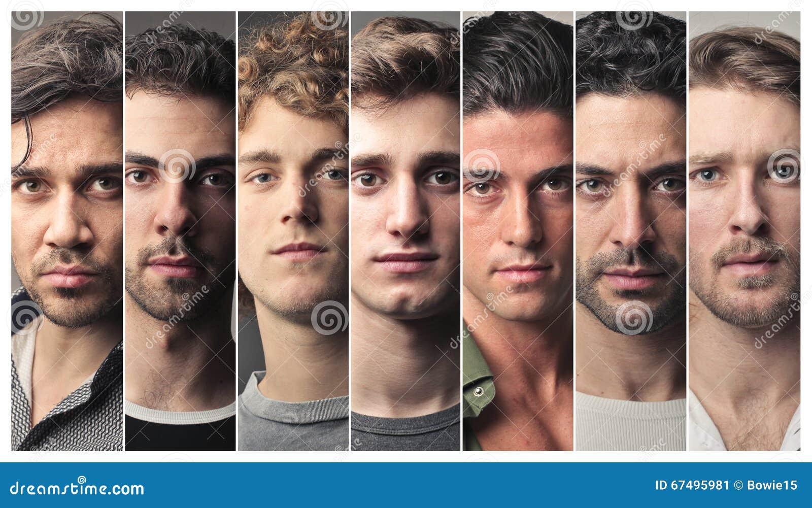 Série de visages des hommes
