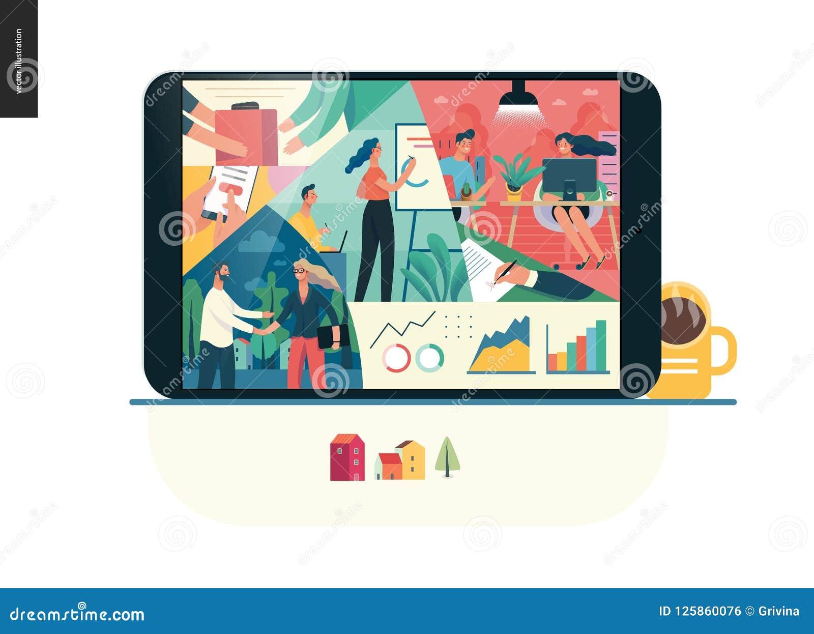 Série do negócio - sobre a empresa, molde da Web de vida do escritório Ilustração do Vetor