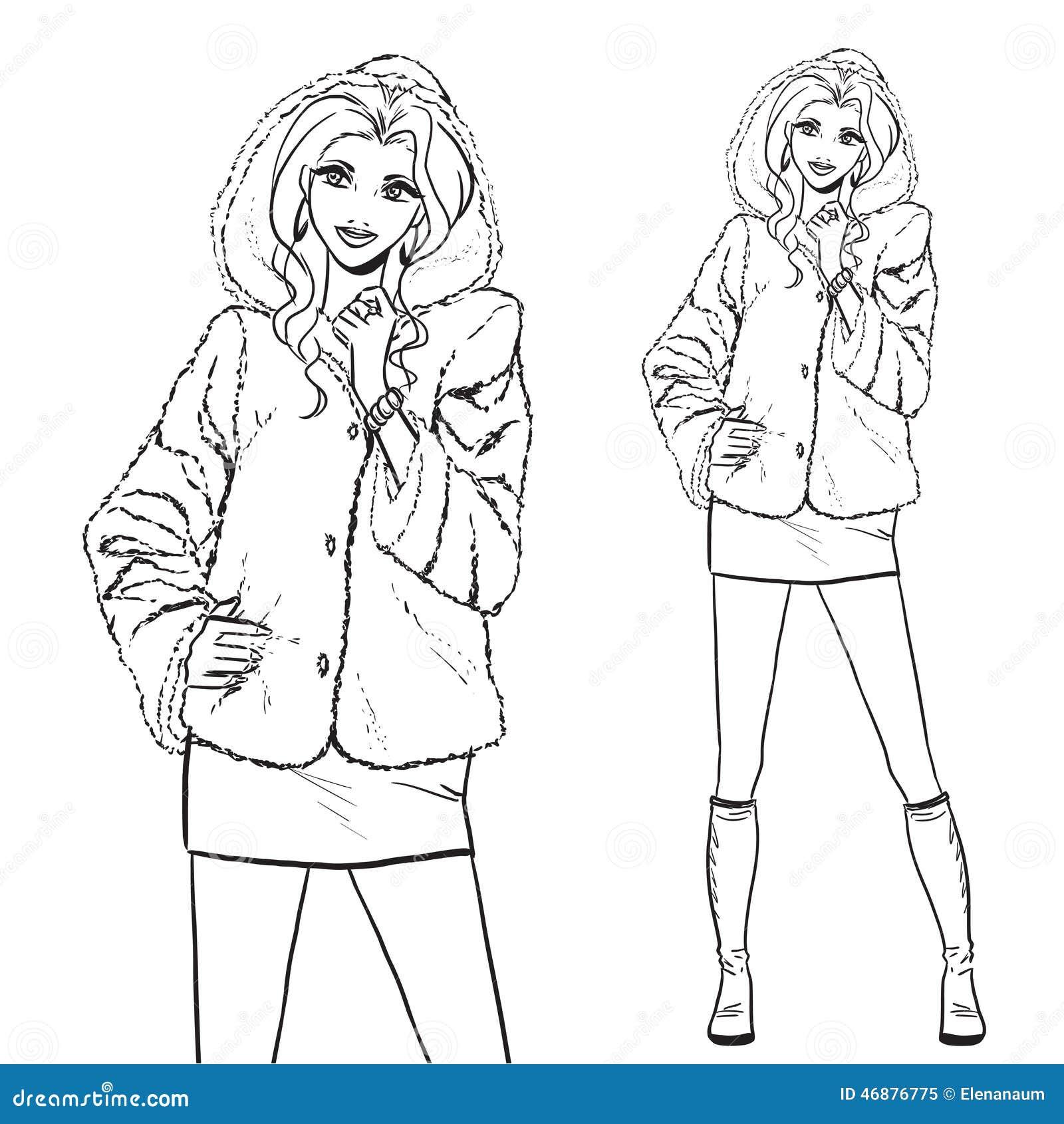S rie femme dans le manteau de fourrure illustration de - Manteau dessin ...