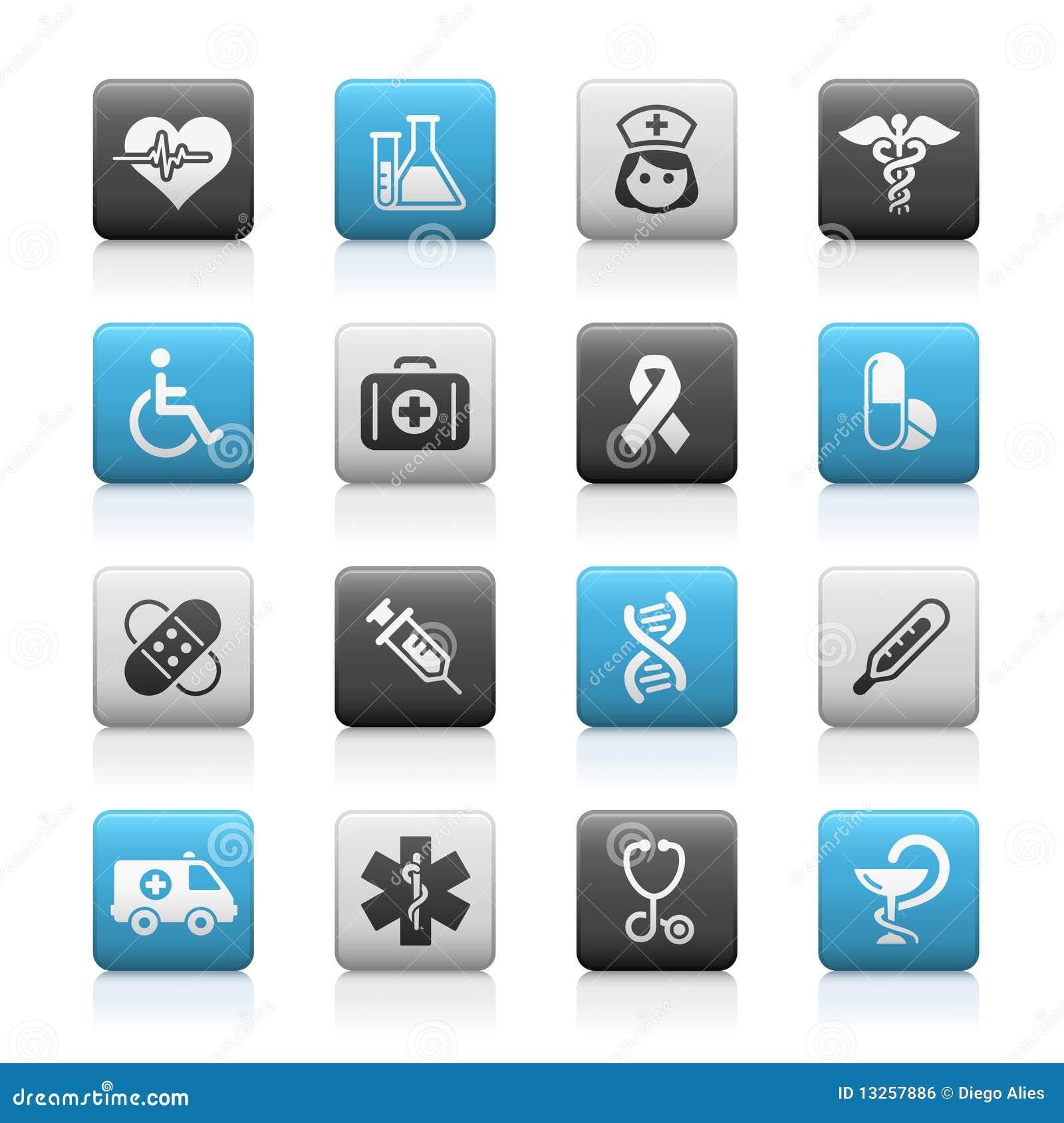Série Matte dos ícones de // do cuidado da medicina & da charneca