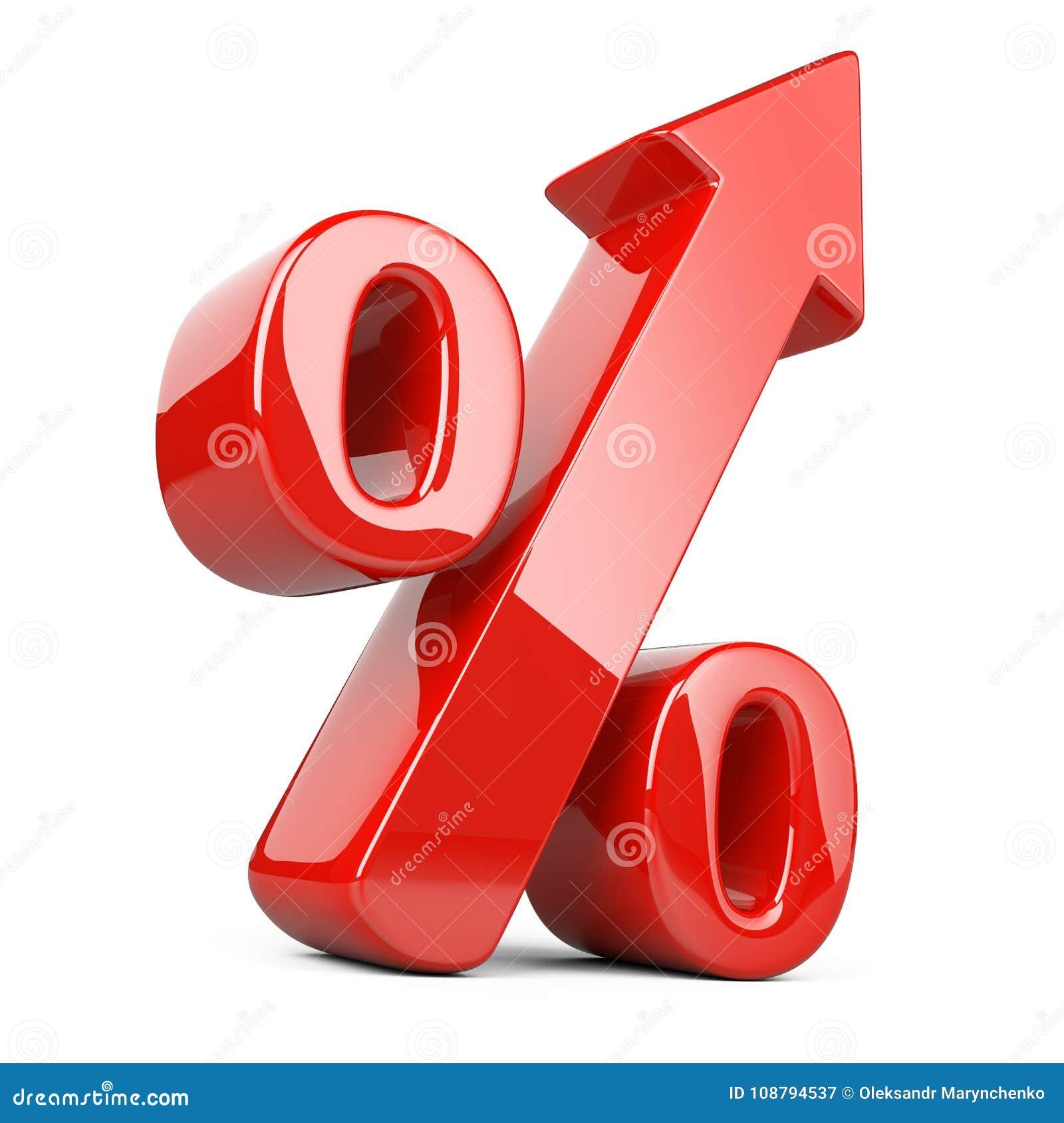 Símbolo brilhante e lustroso vermelho dos por cento com uma seta acima Negócio g