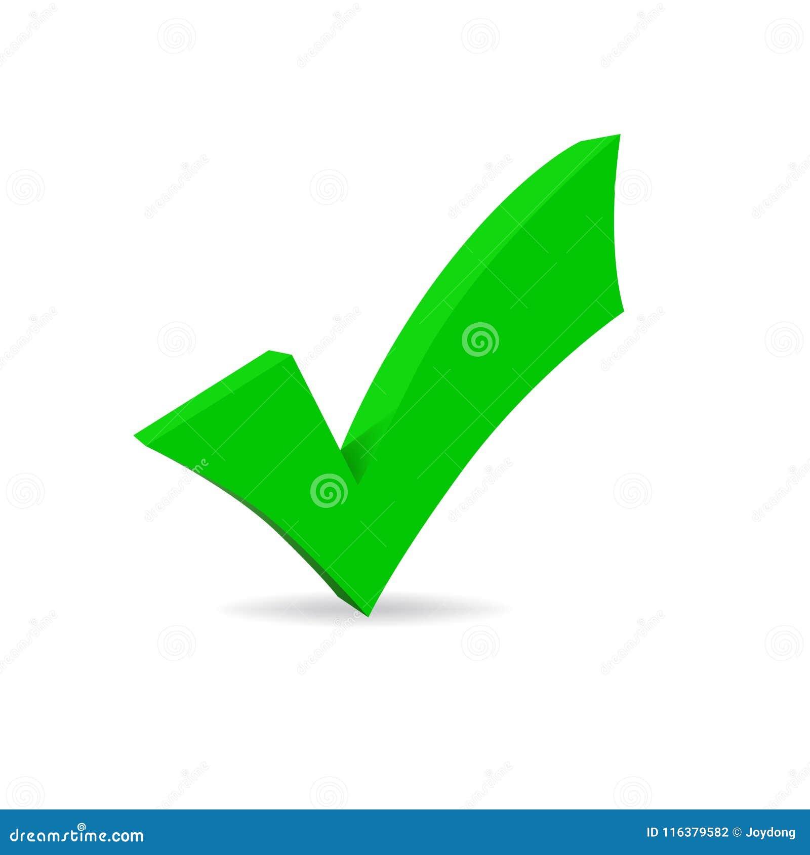 Símbolo correcto verde del vector