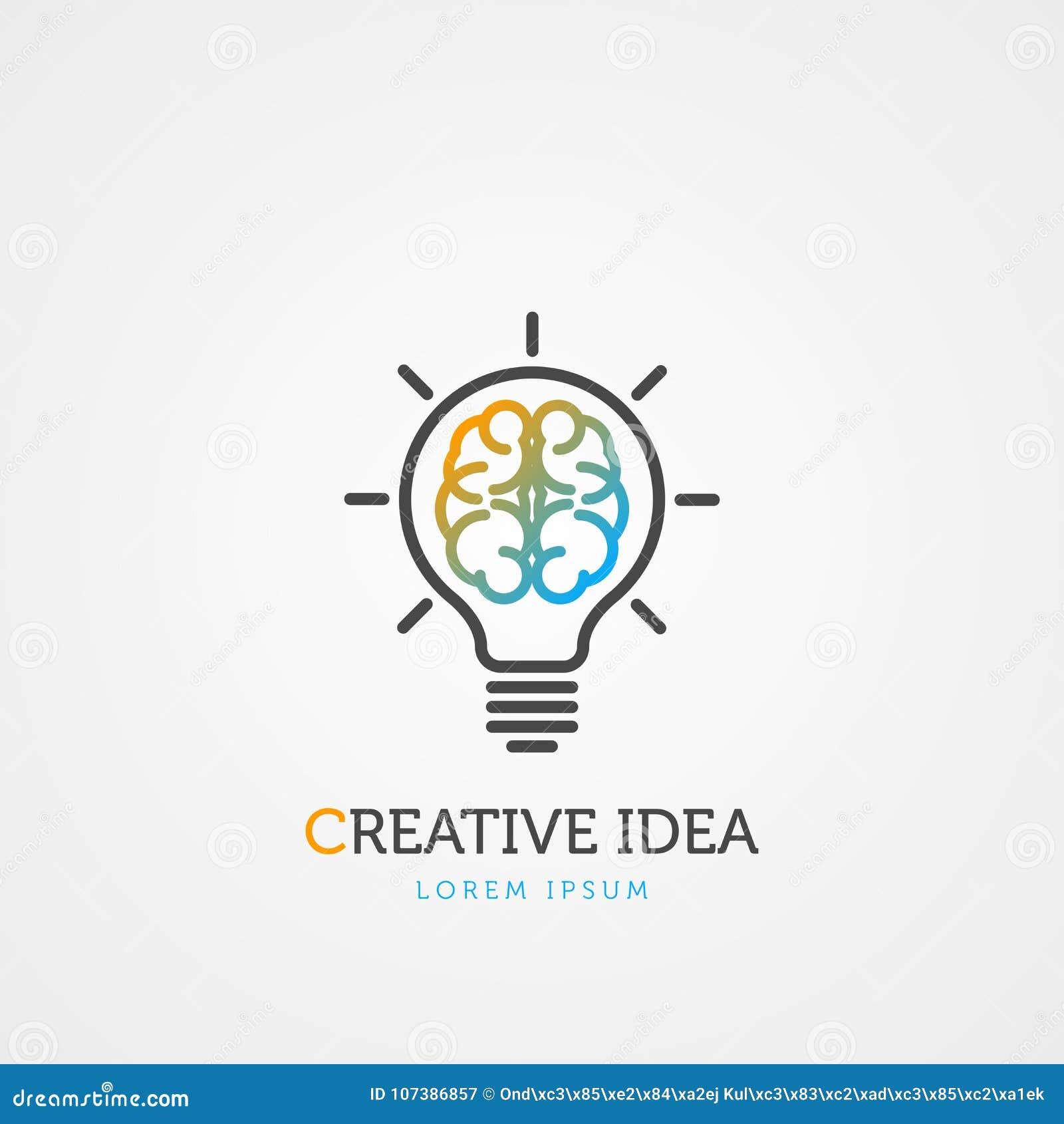 Símbolo da ampola do cérebro Idéia creativa Vetor