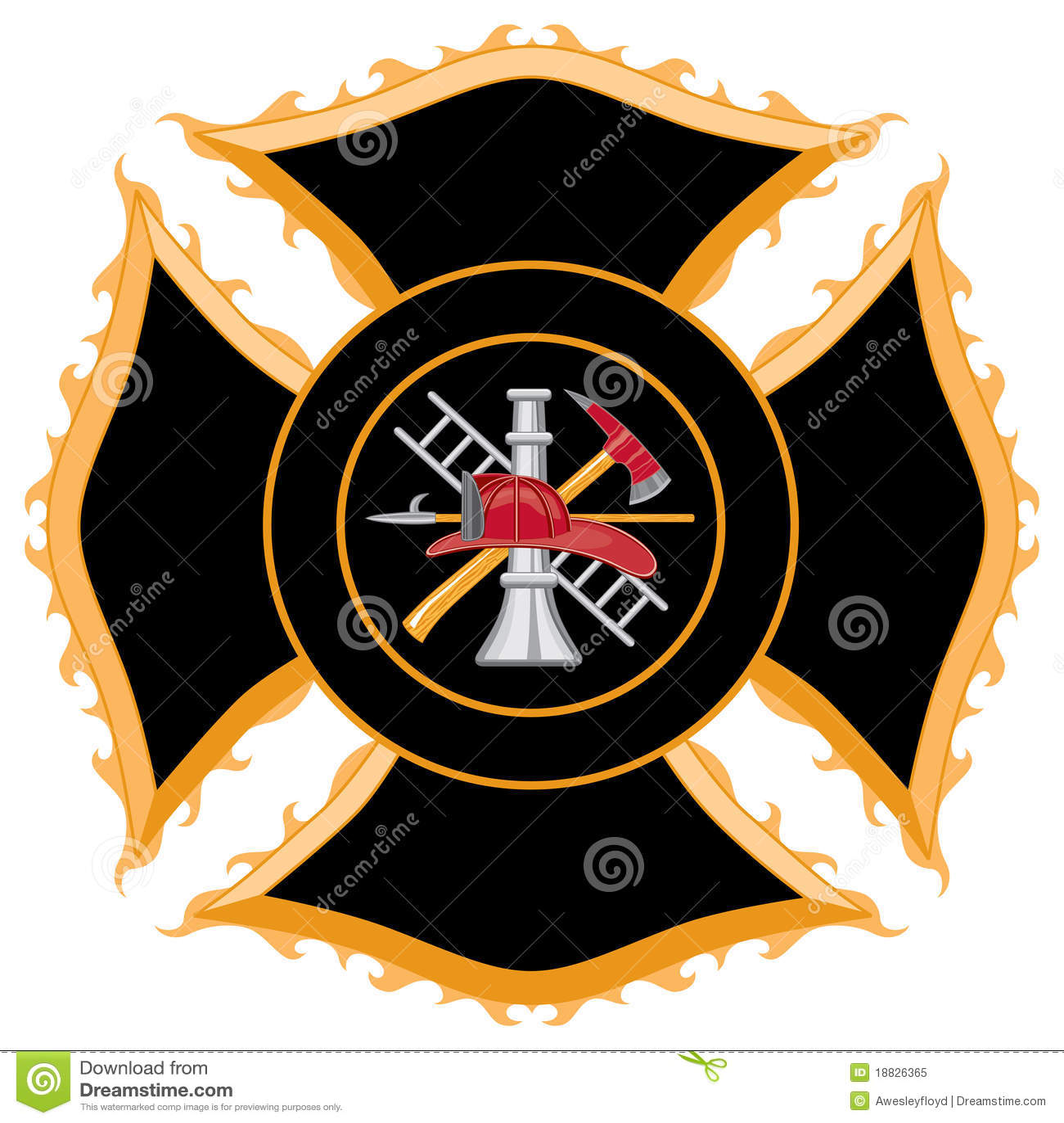 Símbolo da cruz maltesa do departamento dos bombeiros