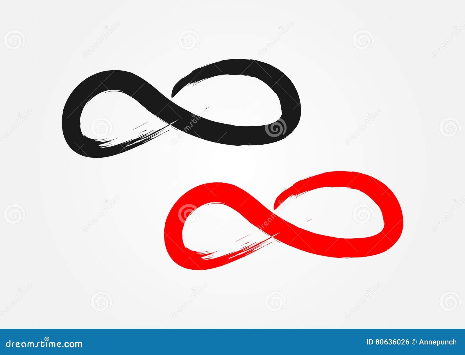 Símbolo da infinidade Escova áspera, grunge Preto e vermelho