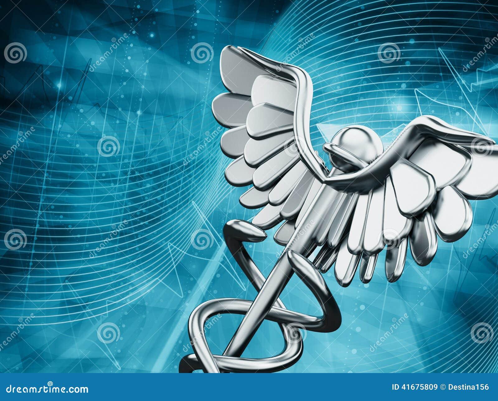 Símbolo Da Medicina No Fundo Azul Ilustração Stock