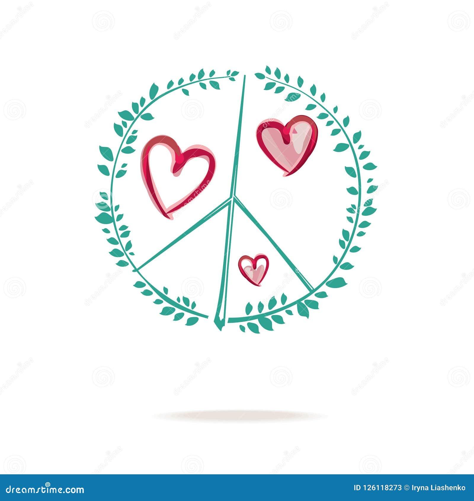 Simbolo Da Paz O Desenho Do Sinal De Paz Consiste Em Ramos Com