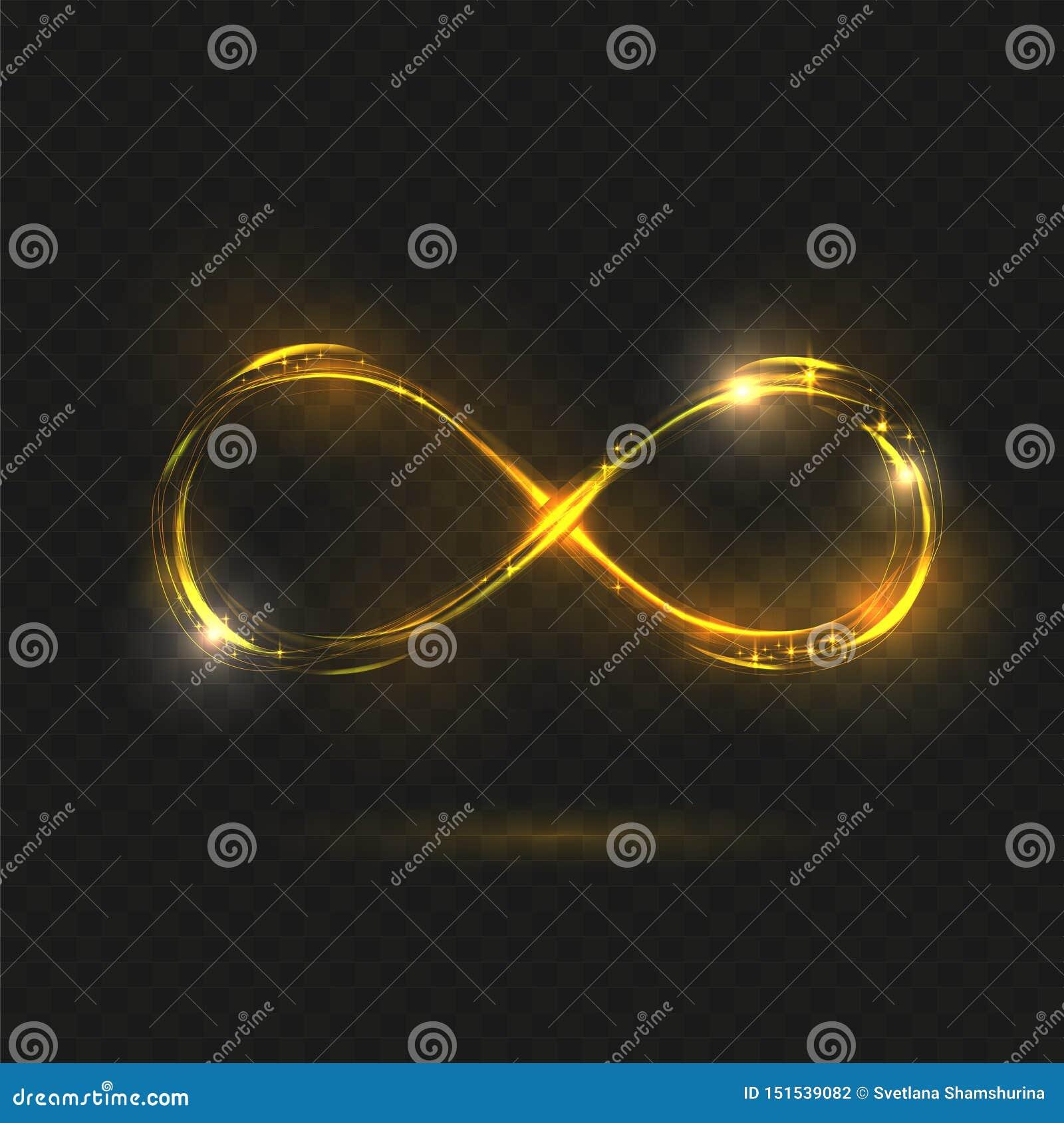 Símbolo de brilho da infinidade do ouro Sinal transparente Ilustra??o do vetor Linha ondulada da espiral de néon amarela da faísc