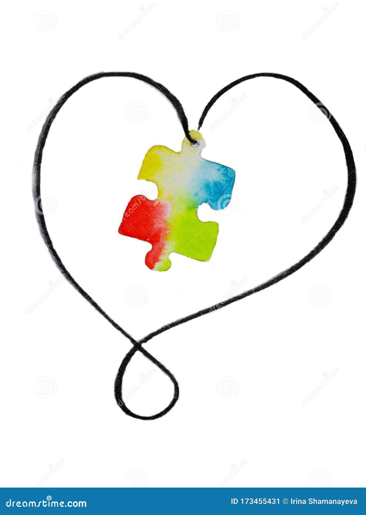 Símbolo De Dibujo Acuarela Del Día Mundial De Conciencia Sobre El Autismo Rompecabezas Coloridos Stock De Ilustración Ilustración De Concepto Colorido 173455431