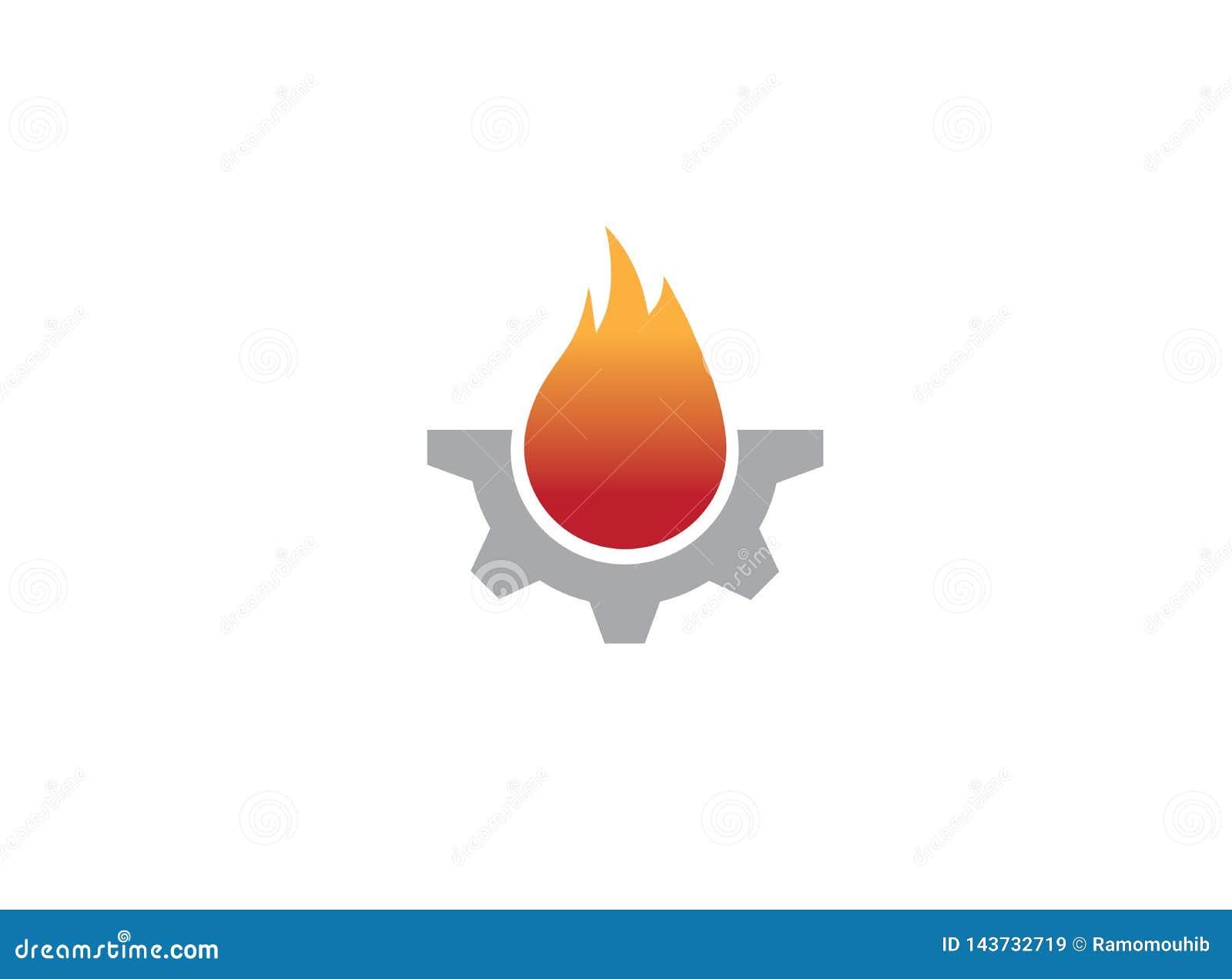 Símbolo de fuego creativo del engranaje para el ejemplo del diseño del logotipo